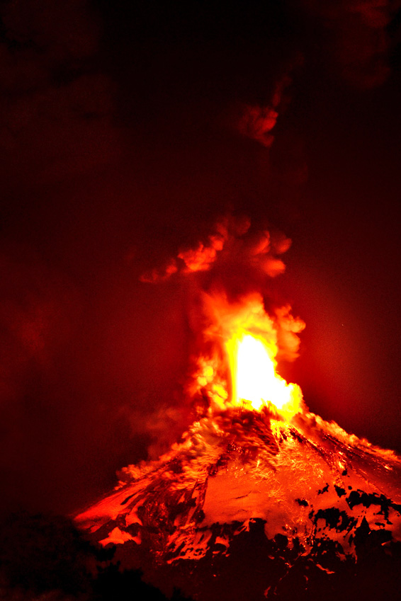Villarrica volcano, located near Villarrica 1200 km from Santiago, in southern Chile, which began erupting on March 3, 2015 forcing the evacuation of some 3,000 people in nearby villages. The Villarrica volcano, one of Chile's most active, began erupting around 3:00 am (0600 GMT), prompting authorities to declare a red alert and cancel classes in schools, the National Emergency Office said.