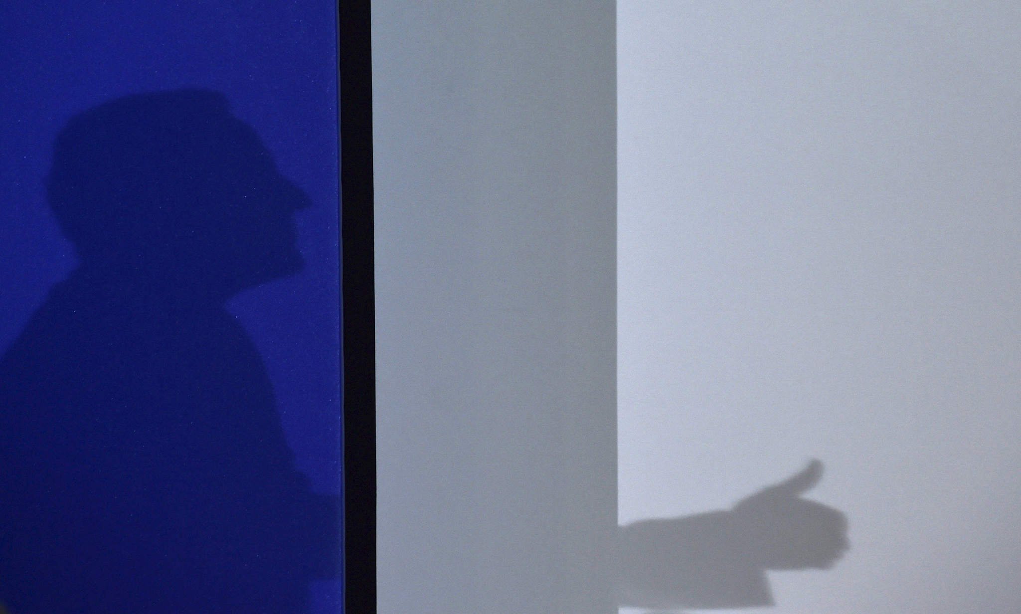 The shadow of Britain's Prime Minister Cameron is cast on a screen as he delivers a speech in a garden shed warehouse during a campaign event in Bedford, southern...The shadow of Britain's Prime Minister David Cameron is cast on a screen as he delivers a speech in a garden shed warehouse during a campaign event in Bedford, southern England April 22, 2015.  REUTERS/Toby Melville