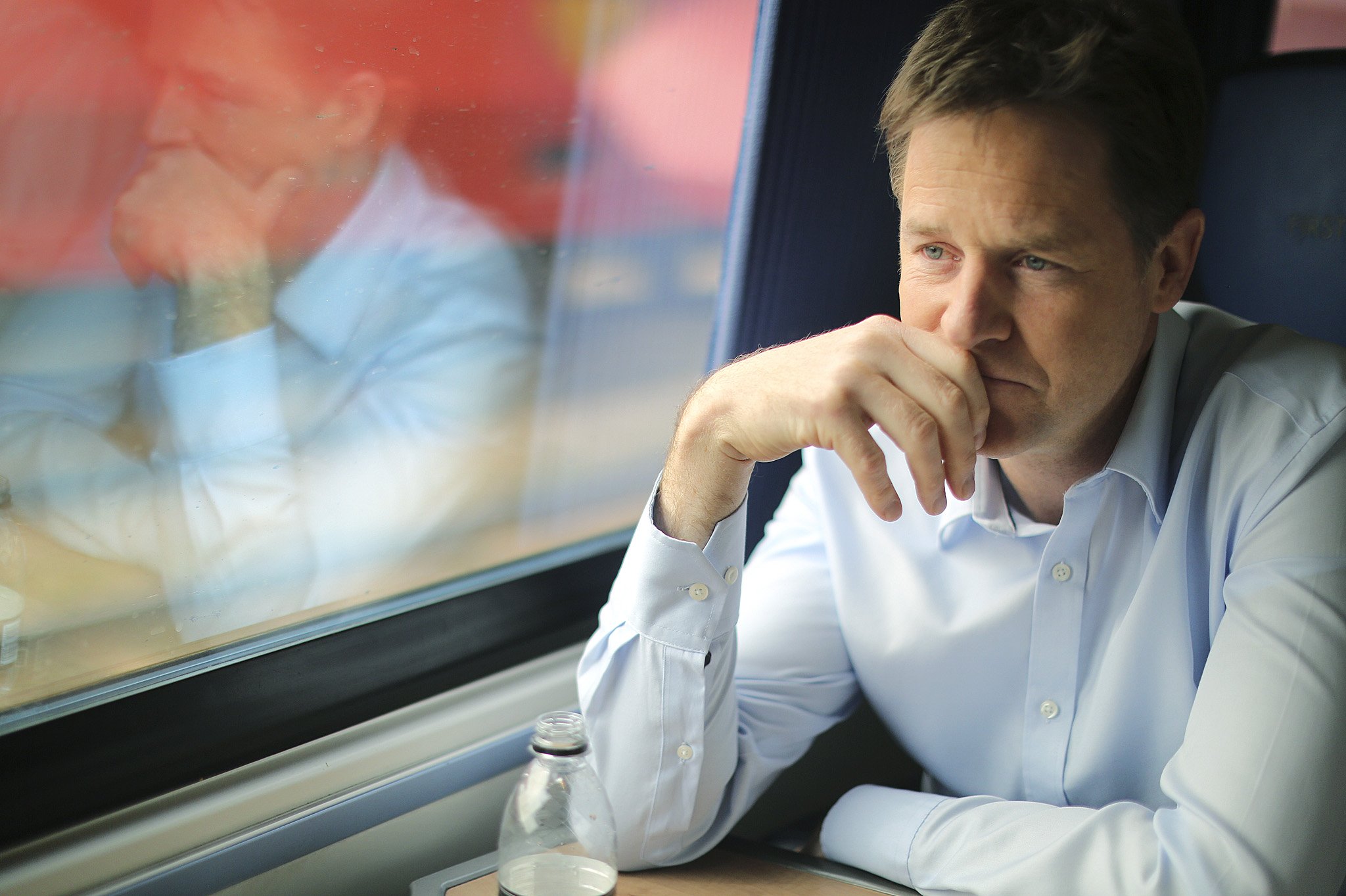 Deputy Prime minister and Leader of the Liberal Democrats, Nick Clegg, talks to the FT on a train to his constituency in Sheffield.