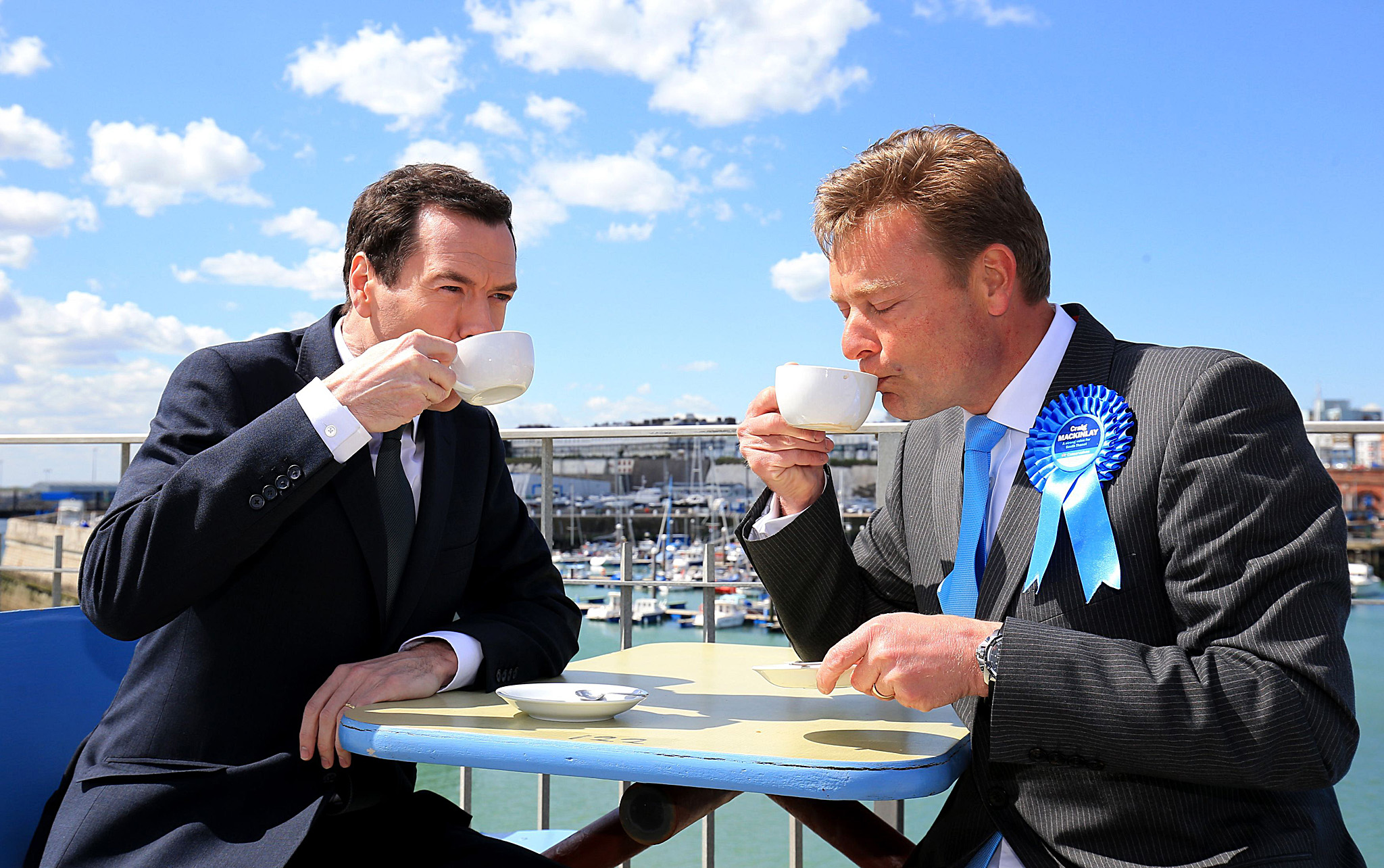 General Election 2015 campaign - April 28th...Chancellor George Osborne talks to Craig Mackinlay, Conservative parliamentary candidate for South Thanet during a General Election campaign visit to Ramsgate in Kent. PRESS ASSOCIATION Photo. Picture date: Wednesday April 28, 2015. Photo credit should read: Gareth Fuller/PA Wire