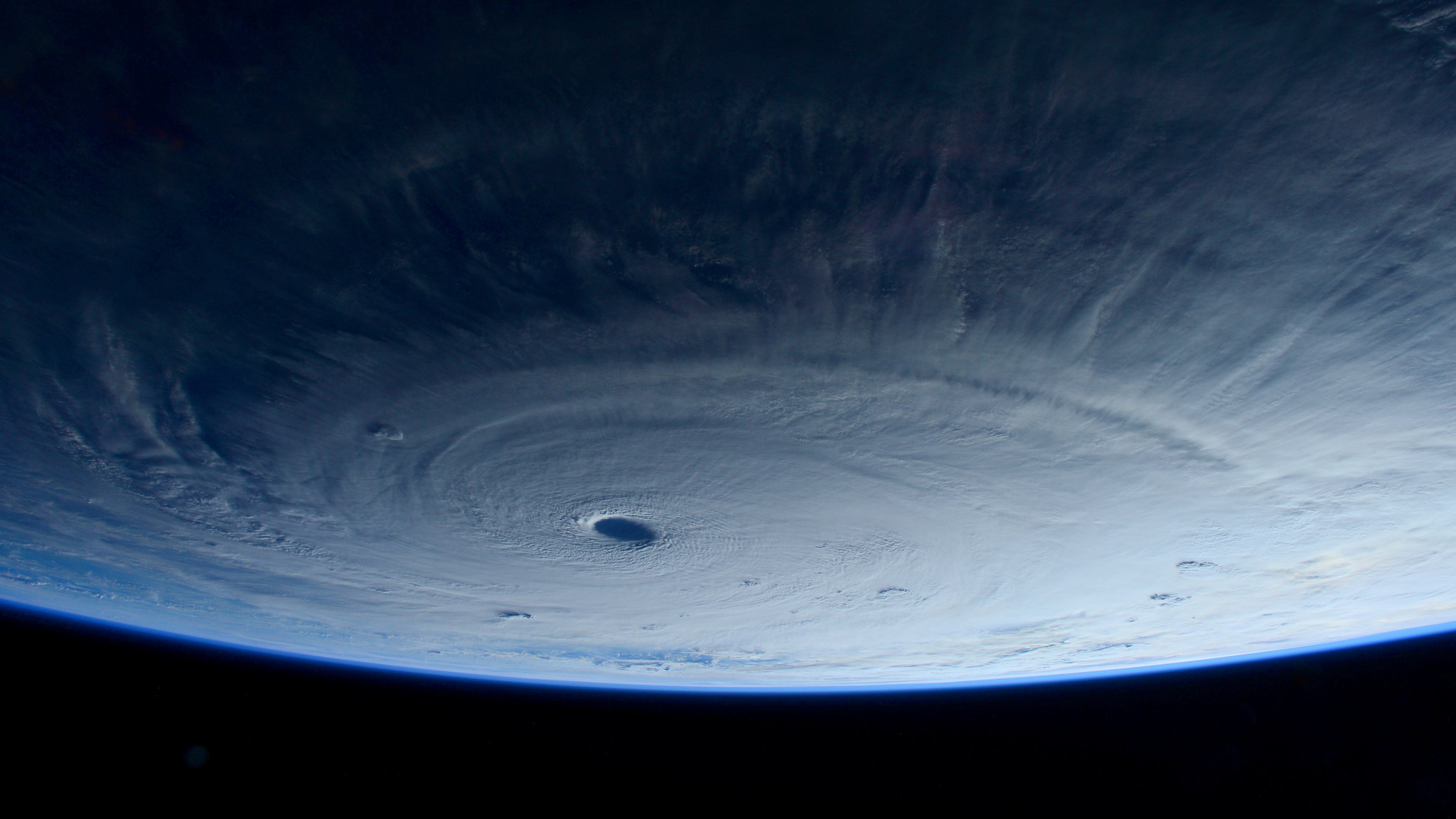 This image taken Tuesday March 31, 2015 shows Typhoon Maysak taken by astronaut Samantha Cristoforetti from the International Space Station. The Pacific Daily News newspaper in Guam reports the storm was upgraded Tuesday to a super typhoon with winds of 150 mph and was moving west-northwest at 15 mph. Officials say super Typhoon Maysak is expected to significantly weaken before reaching the Philippines around Sunday. (AP Photo/NASA, Samantha Cristoforetti) .
