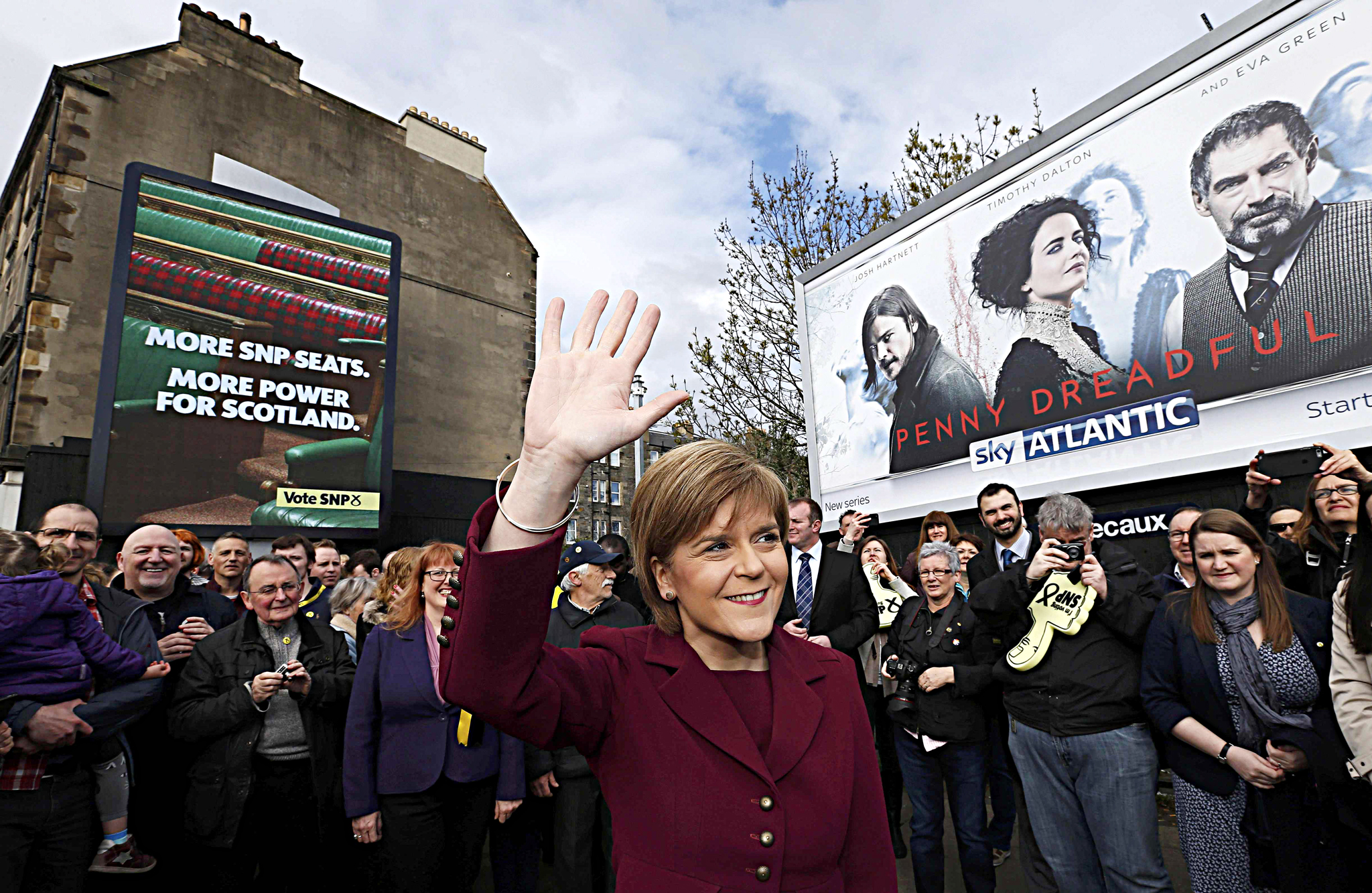 Nicola Sturgeon, the leader of the Scottish National Party, launches her party's final poster at a campaign event in Leith Walk Edinburgh, Scotland...Nicola Sturgeon, the leader of the Scottish National Party, launches her party's final poster at a campaign event in Leith Walk Edinburgh, Scotland, April 30, 2015. REUTERS/Russell Cheyne