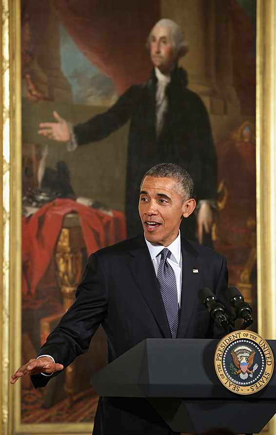 U.S. President Barack Obama delivers remarks during an Easter Prayer Breakfast in the East Room of the White House  April 7, 2015 in Washington, DC. According to the White House, Obama hosted the event to bring Christian religious leaders together at the White House to 'pray and reflect on Holy Week and Easter.