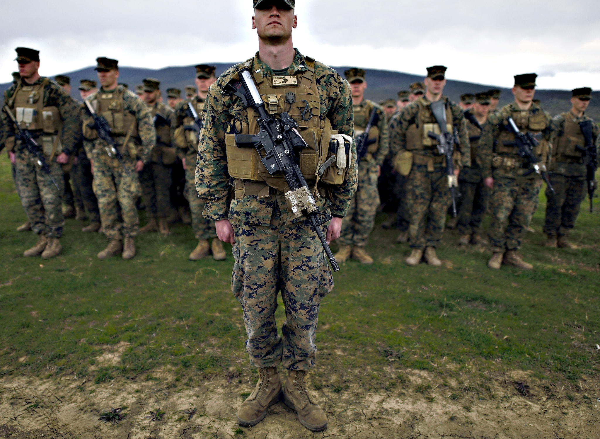 US Marines stand at attention during the military exercise 'Platinum Lion 15-2' at the Novo Selo military base near the town of Sliven, some 290 kms from Sofia, Bulgaria on Tuesday. Bulgaria and the US are holding the joint military training at the Novo Selo site in Eastern Bulgaria, as part of the Bulgarian-American plan for joint military trainings and exercises scheduled in 2015