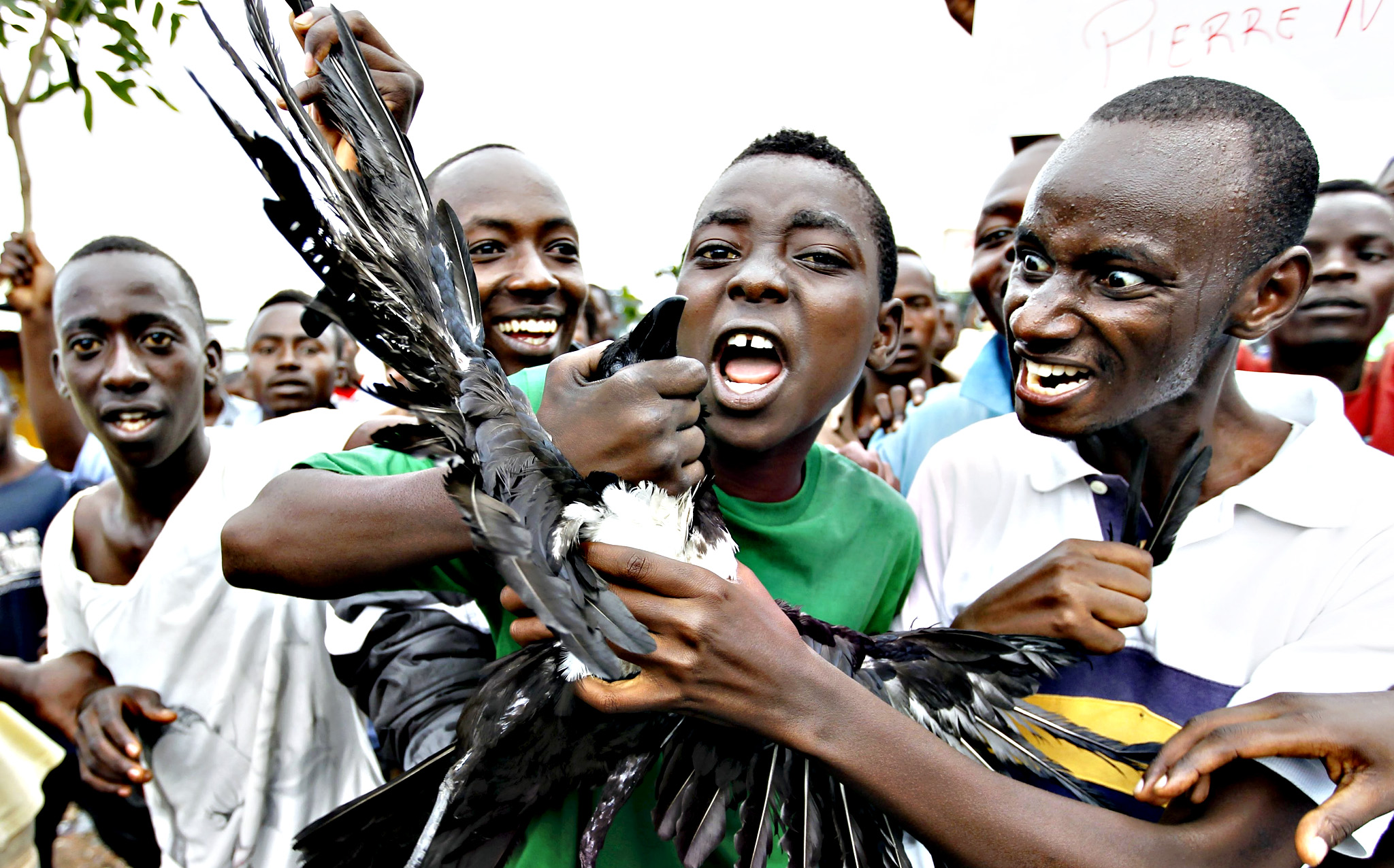Protesters carry a dead crow as they chant anti-government slogans during demonstrations against the ruling CNDD-FDD party's decision to allow President Pierre Nkurunziza to run for a third five-year term in office, in Bujumbura, Burundi on Thursday. A senior U.S. diplomat told Burundi's President, Pierre Nkurunziza, on Thursday that the east African country risks boiling over if it stifles political opposition, as protests against the president entered a fifth day. Tom Malinowski, U.S. assistant secretary of state for democracy, human rights and labor, arrived in Burundi on Wednesday to try to help halt escalating unrest and defuse the country's biggest crisis in years, set off by Nkurunziza's decision to seek a third term in office