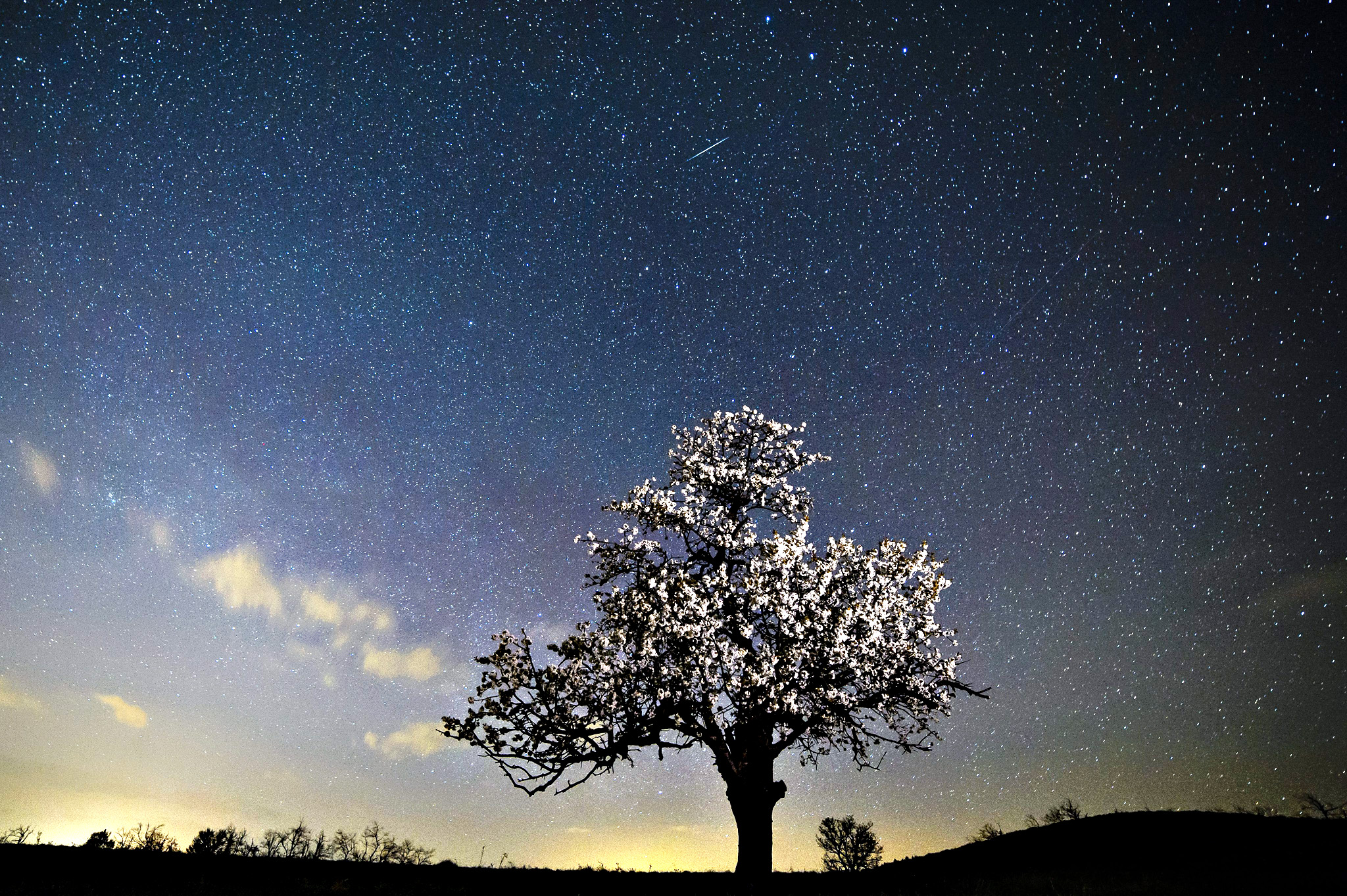 A meteorite burns up in the atmosphere, seen near Salgotarjan, 109 kms northeast of Budapest, Hungary