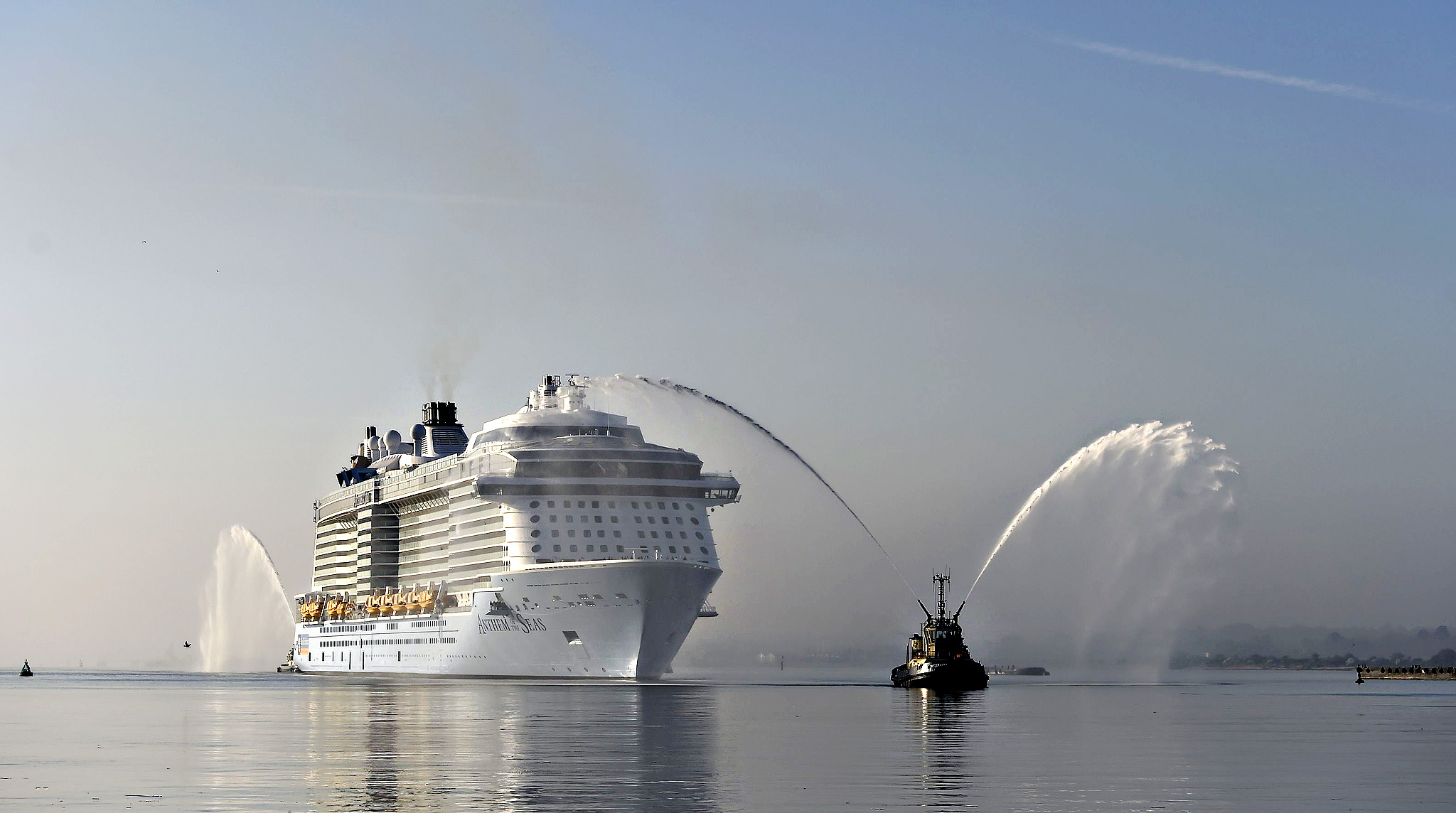 Anthem of the Seas arrives in Southampton...The world's joint third largest cruise ship, MS Anthem of the Seas, owned by Royal Caribbean, arrives at berth 101 in Southampton Docks ahead of her naming ceremony on 20 April. PRESS ASSOCIATION Photo. Picture date: Wednesday April 15, 2015.
