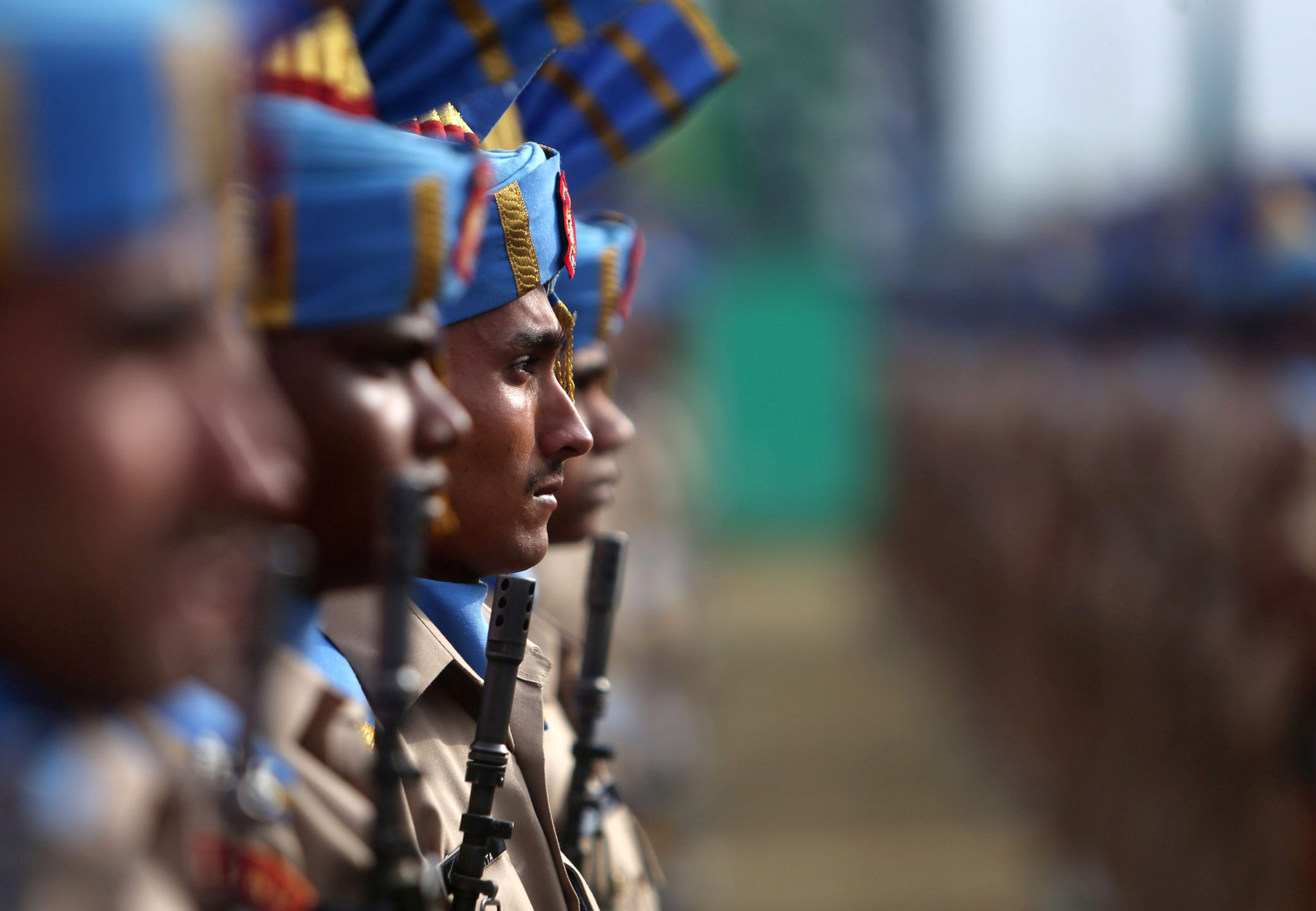 Passing Out Parade in Humhama...epa04747442 New recruits of the Indian Central Reserve Police Force (CRPF) take part in the passing out parade in Humhama, on the outskirts of Srinagar, the summer capital of Indian Kashmir, India, 14 May 2015. A total of 341 recruits were formally inducted into the CRPF, an Indian paramilitary force, after completing a 44-weeks training in physical fitness, weapon handling, commando operations and counter insurgency.  EPA/FAROOQ KHAN