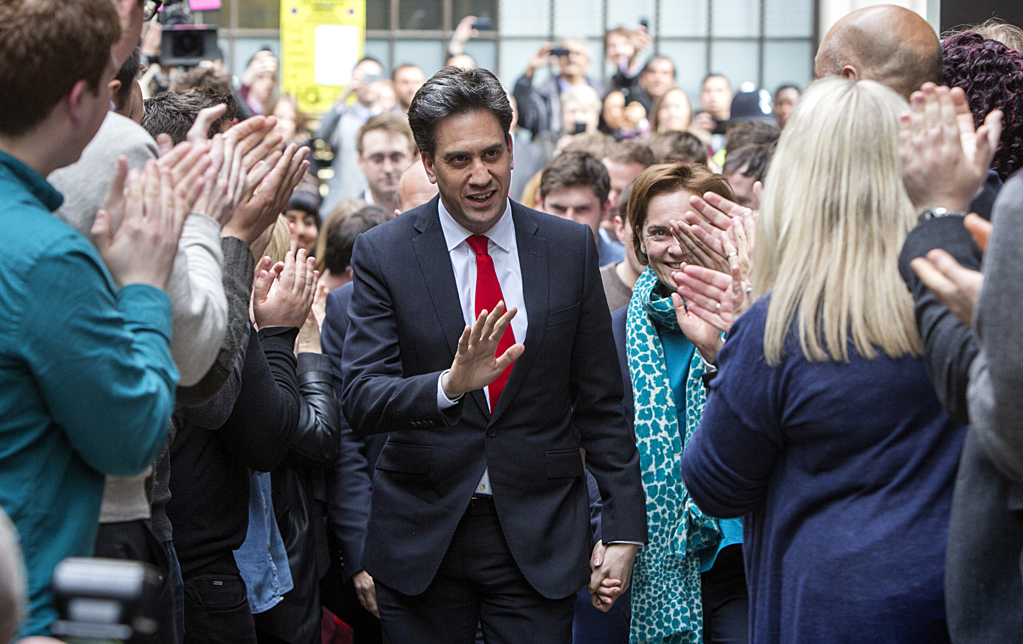 General Election 20915:  Ed Milliband and his wife Justine Thornton arrive at Labour Party HQ after his party's defeat in the general election. Photograph: Rosie Hallam