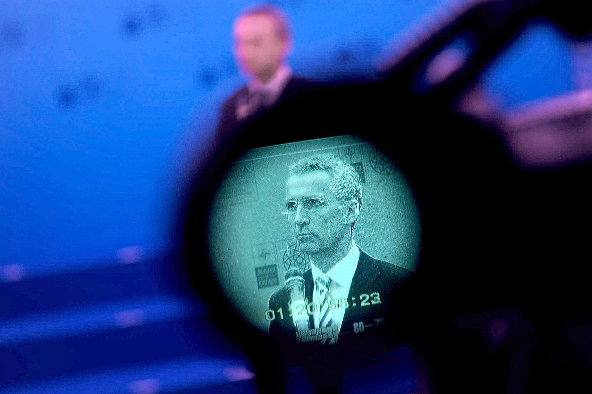 NATO Secretary General Jens Stoltenberg ...NATO Secretary General Jens Stoltenberg is seen on the screen of a camera as he delivers a speech at NATO Foreign Minister's Meeting in Antalya on May 13, 2015. Turkey hosts NATO foreign ministers for a meeting to discuss threats to the alliance including Islamic State jihadists and the policies of Russia on its borders.    AFP PHOTO / OZAN KOSEOZAN KOSE/AFP/Getty Images