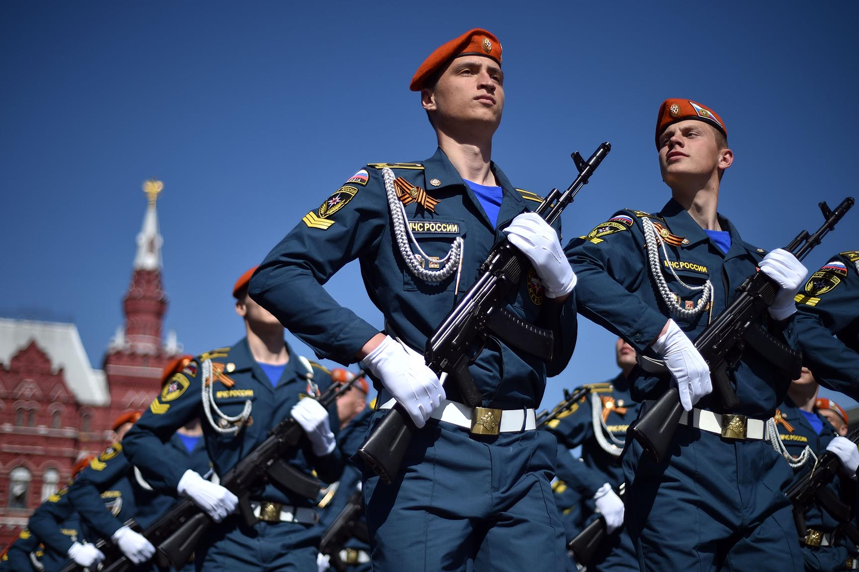 Russian Emergency Ministry cadets march