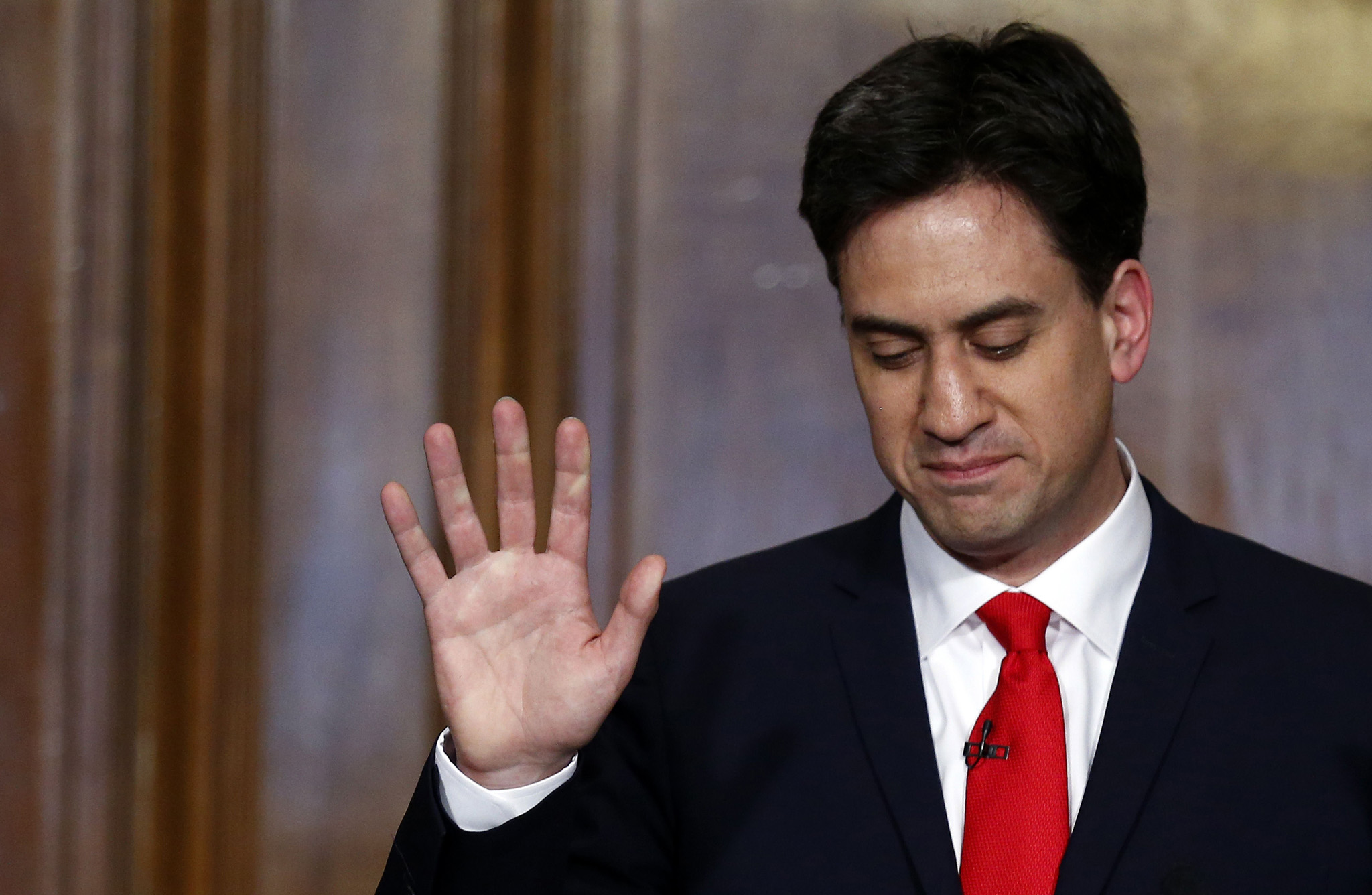 Opposition Labour Party leader Ed Miliband speaks during a press conference at which he announced his resignation as head of the party.