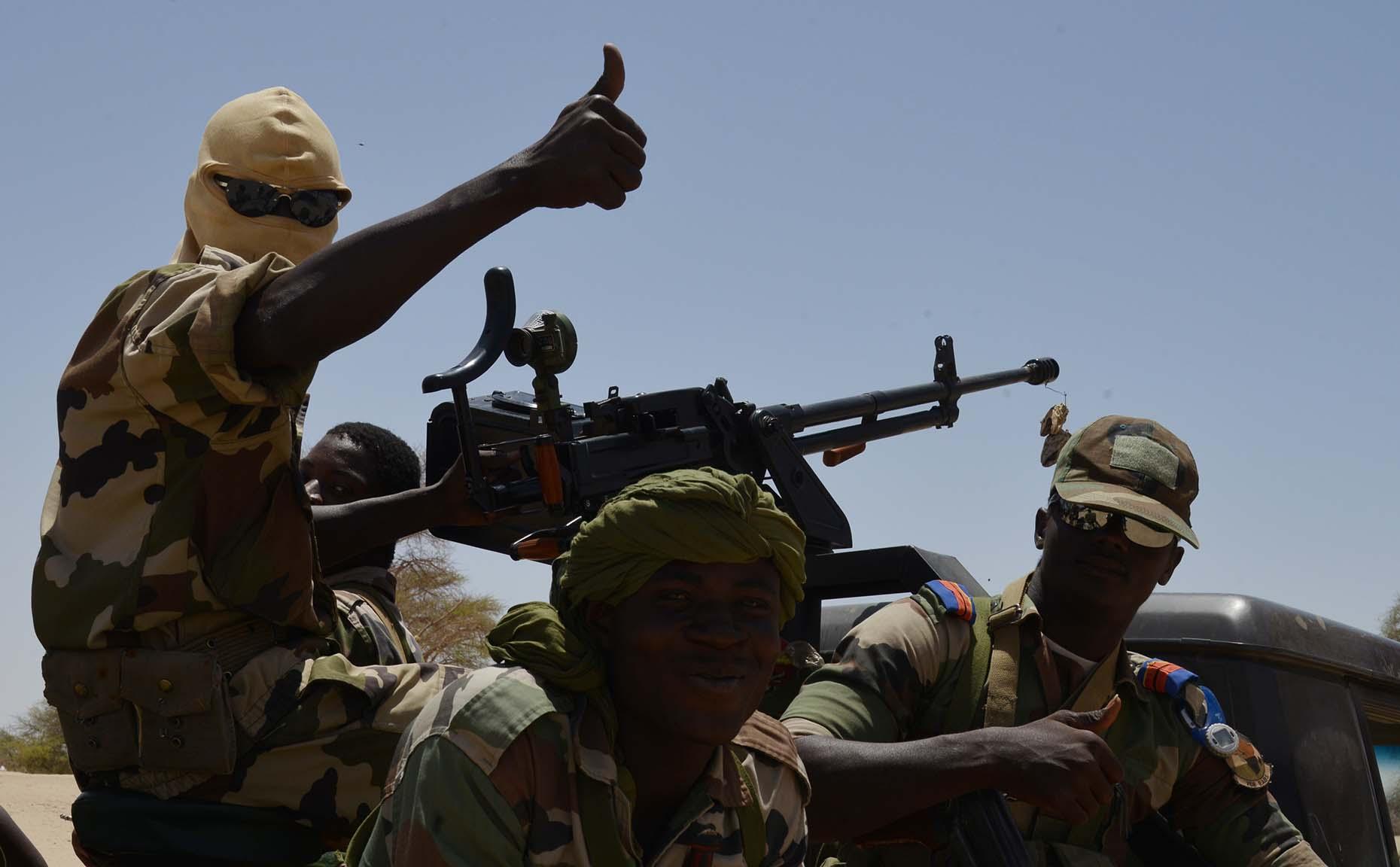 Nigerien soldiers  patrol in Bosso