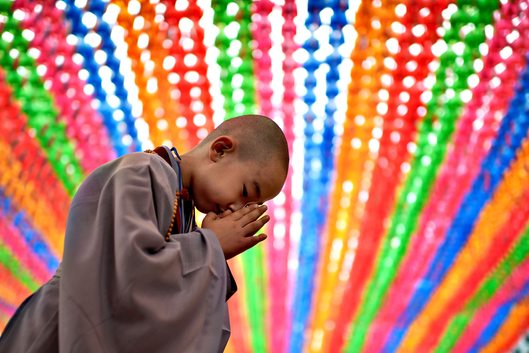 A young novice monk prays after having his head shaved by Buddhist monks during a ceremony entitled 'Children Becoming Buddhist Monks', at the Jogye temple in Seoul on May 11, 2015.  Following the ceremony the children stay at the temple where they are taught about Buddhism, for two weeks, until Buddha's birthday on May 25