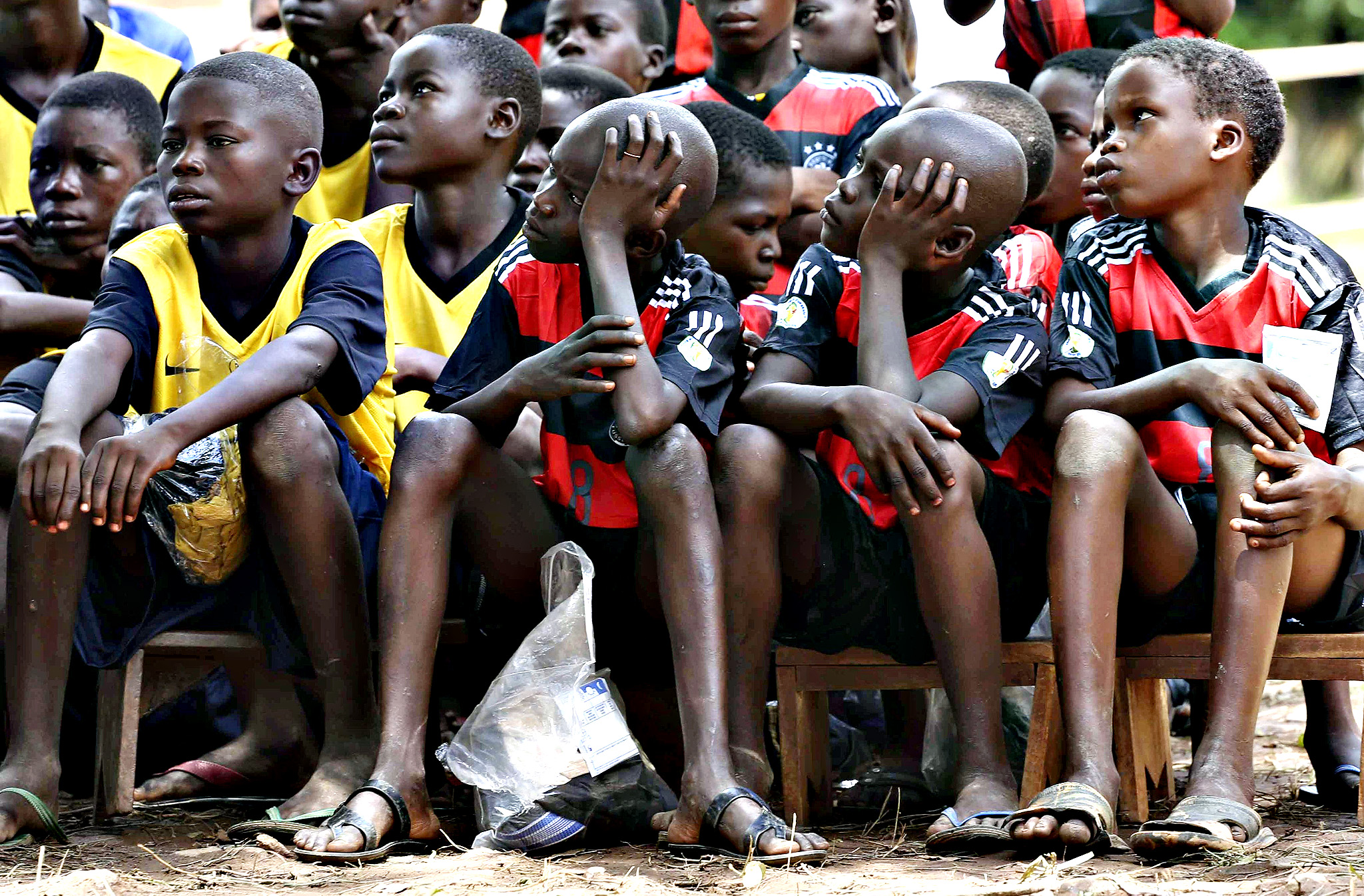 Former anti-Balaka child soldiers wait to be released in Bambari, Central African Republic