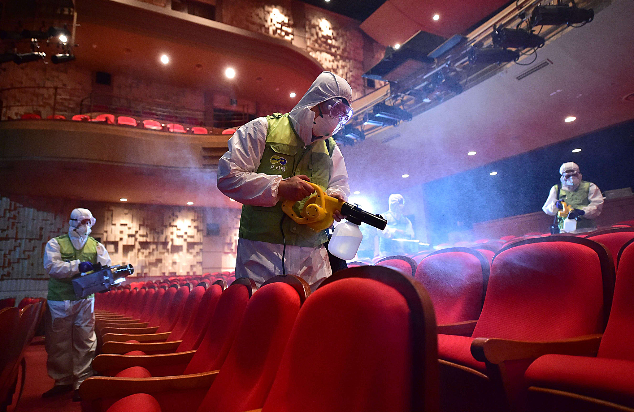 South Korean workers wearing pr...TOPSHOTS South Korean workers wearing protective gear fumigate a theater at the Sejong Culture Center in Seoul on June 16, 2015. South Korea on June 16 reported three more fatalities from MERS, taking the country's death toll from the outbreak to 19 as four new cases were confirmed, the health ministry said.     AFP PHOTO / JUNG YEON-JEJUNG YEON-JE/AFP/Getty Images