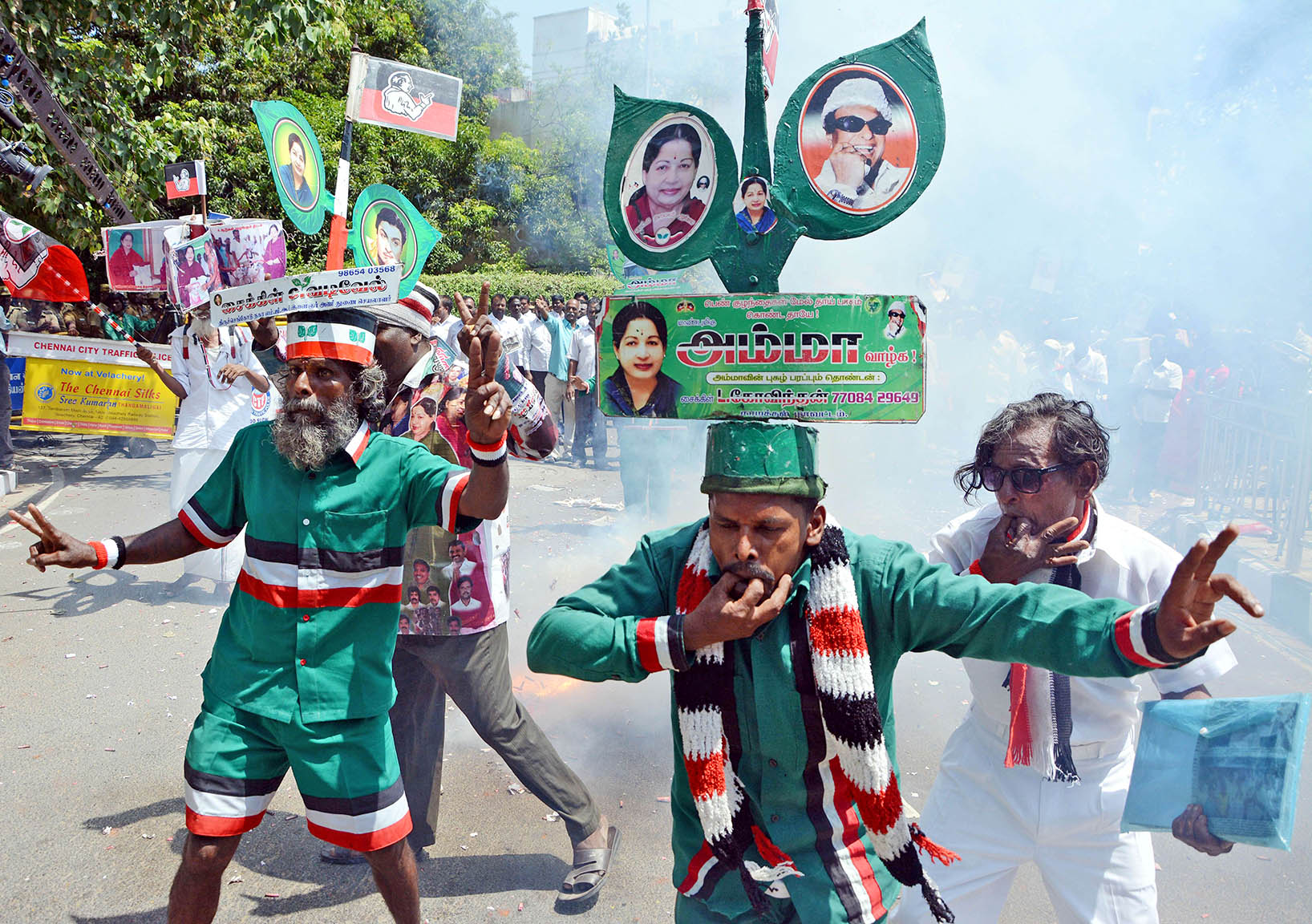 Supporters of India's All India Anna Dravida Munnetra Kazhagam (AIADMK)