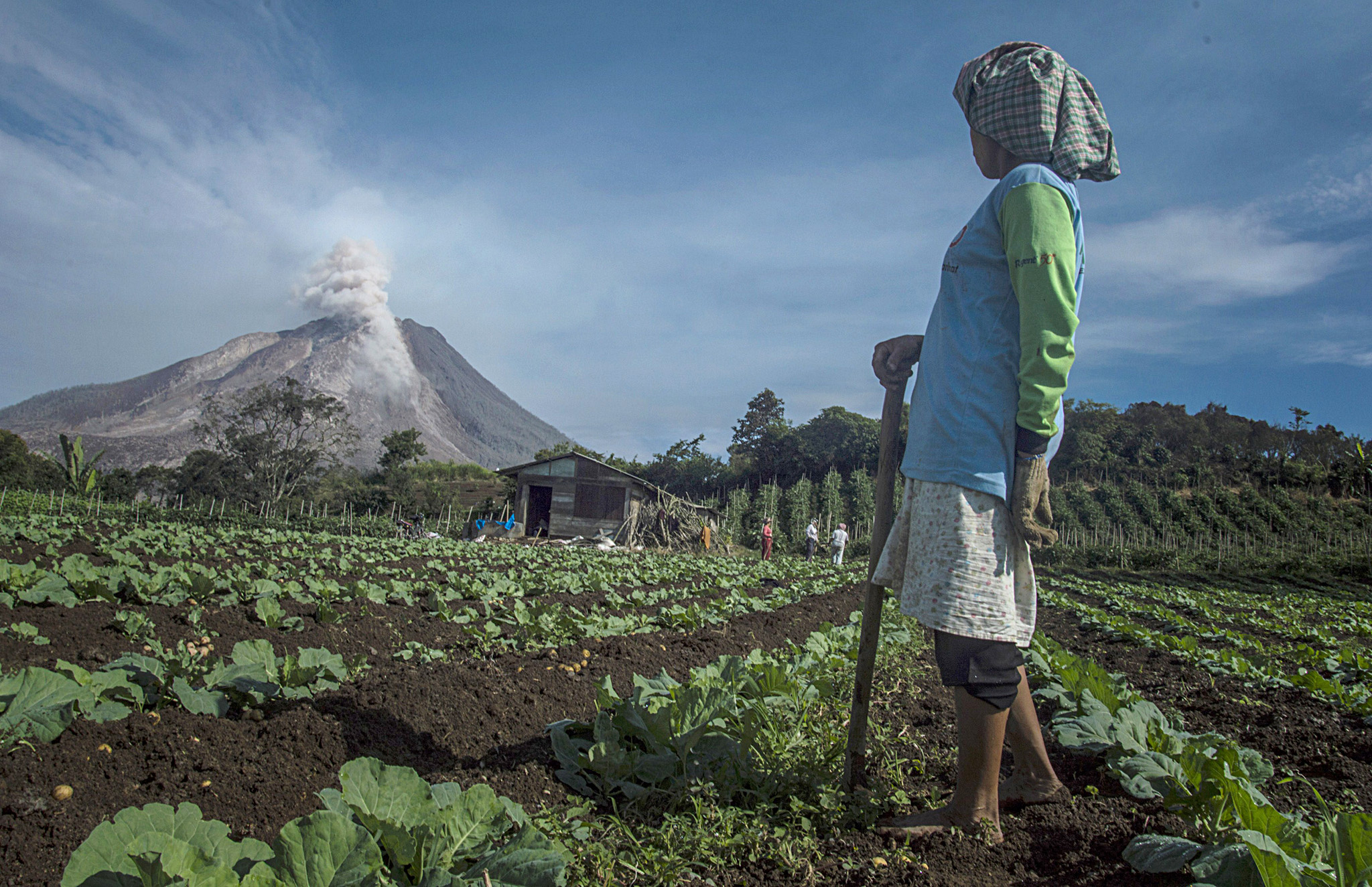 In this photograph taken on June 3, 2015...In this photograph taken on June 3, 2015, an Indonesian farmer in Karo district looks at Mount Sinabung volcano spewing smoke and ash. Nearly 3,000 people have been evacuated from their homes after Indonesia upgraded the threat posed by a volcano on Sumatra island to the highest possible level, an official said on June 4, 2015.  AFP PHOTO / SUTANTA ADITYASUTANTA ADITYA/AFP/Getty Images