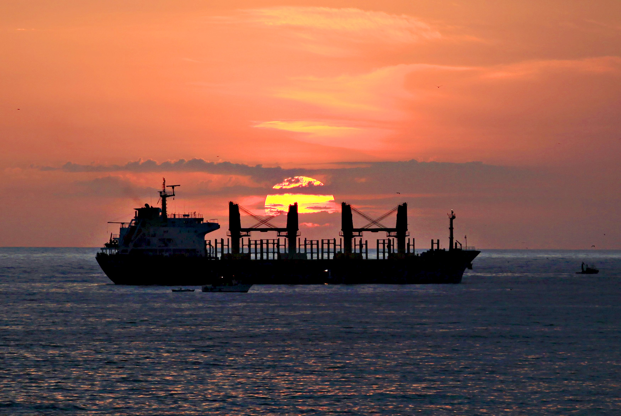 A freighter lies off the coast at sunrise in Algiers, Algeria June 25, 2015.