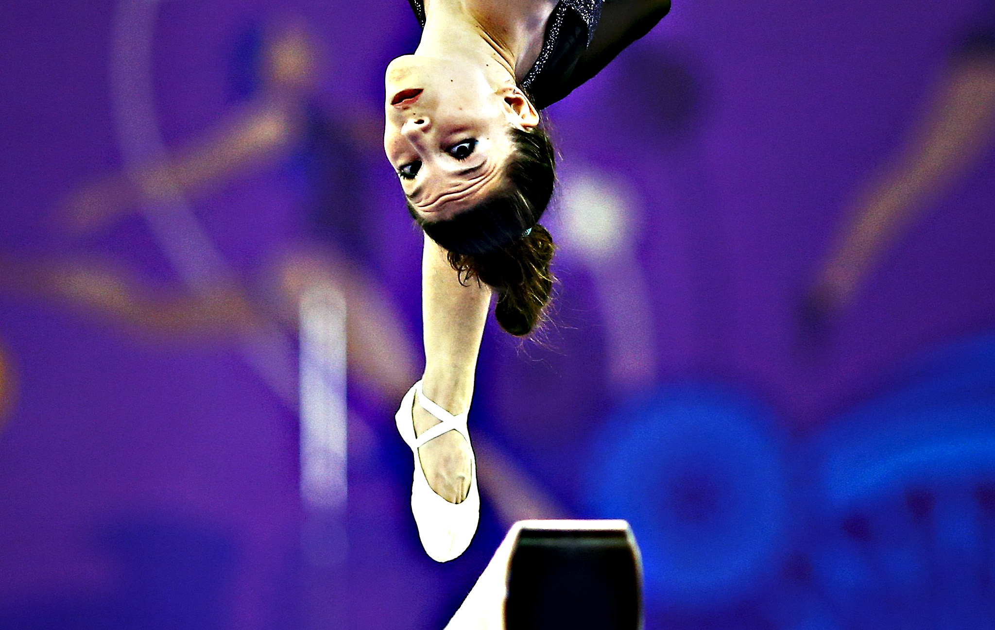 Ioanna Xoulogi of Greece competes on the beam during the women's gymnastics team event at the 1st European Games in Baku, Azerbaijan
