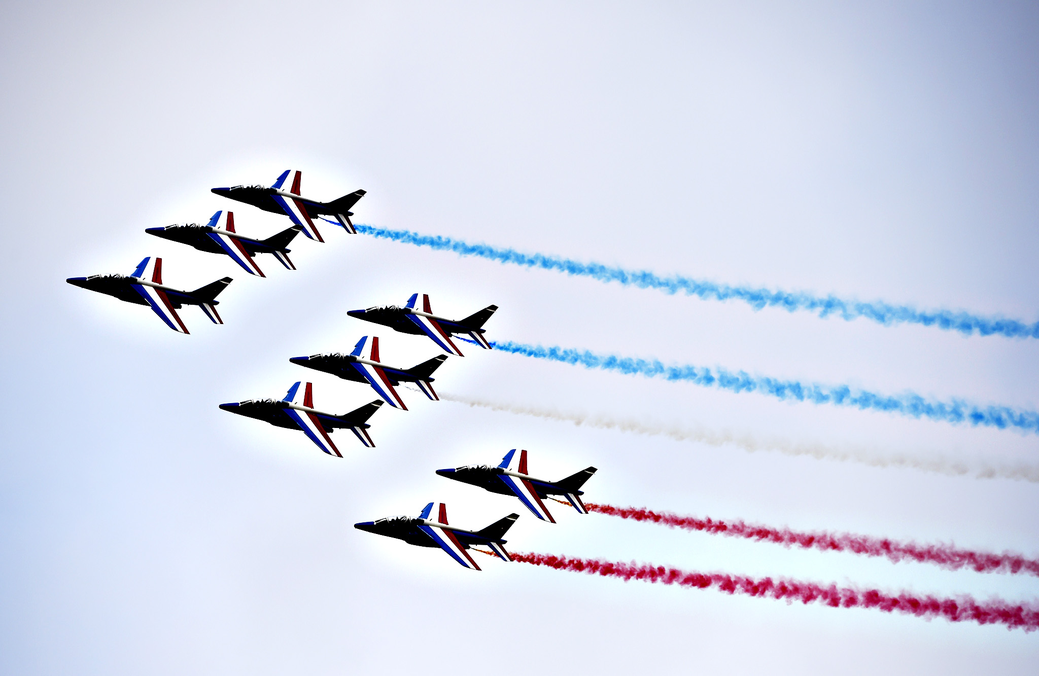 The French Patrol performs over Le Bourget on June 15, 2015 during the opening of the International Paris Airshow.