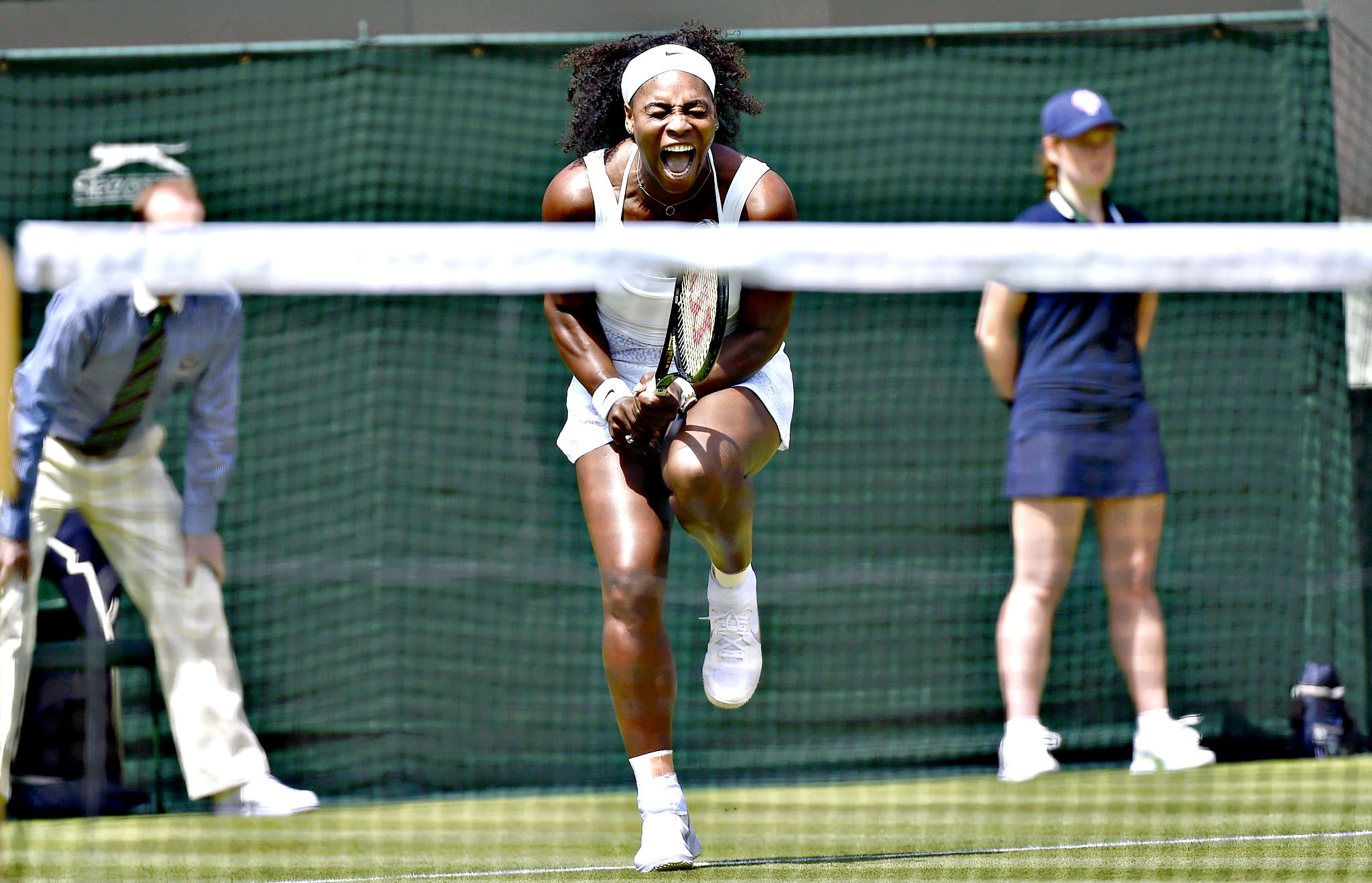 Serena Williams of U.S.A. reacts during her match against Margarita Gasparyan of Russia at the Wimbledon Tennis Championships in London...Serena Williams of U.S.A. reacts during her match against Margarita Gasparyan of Russia at the Wimbledon Tennis Championships in London, June 29, 2015