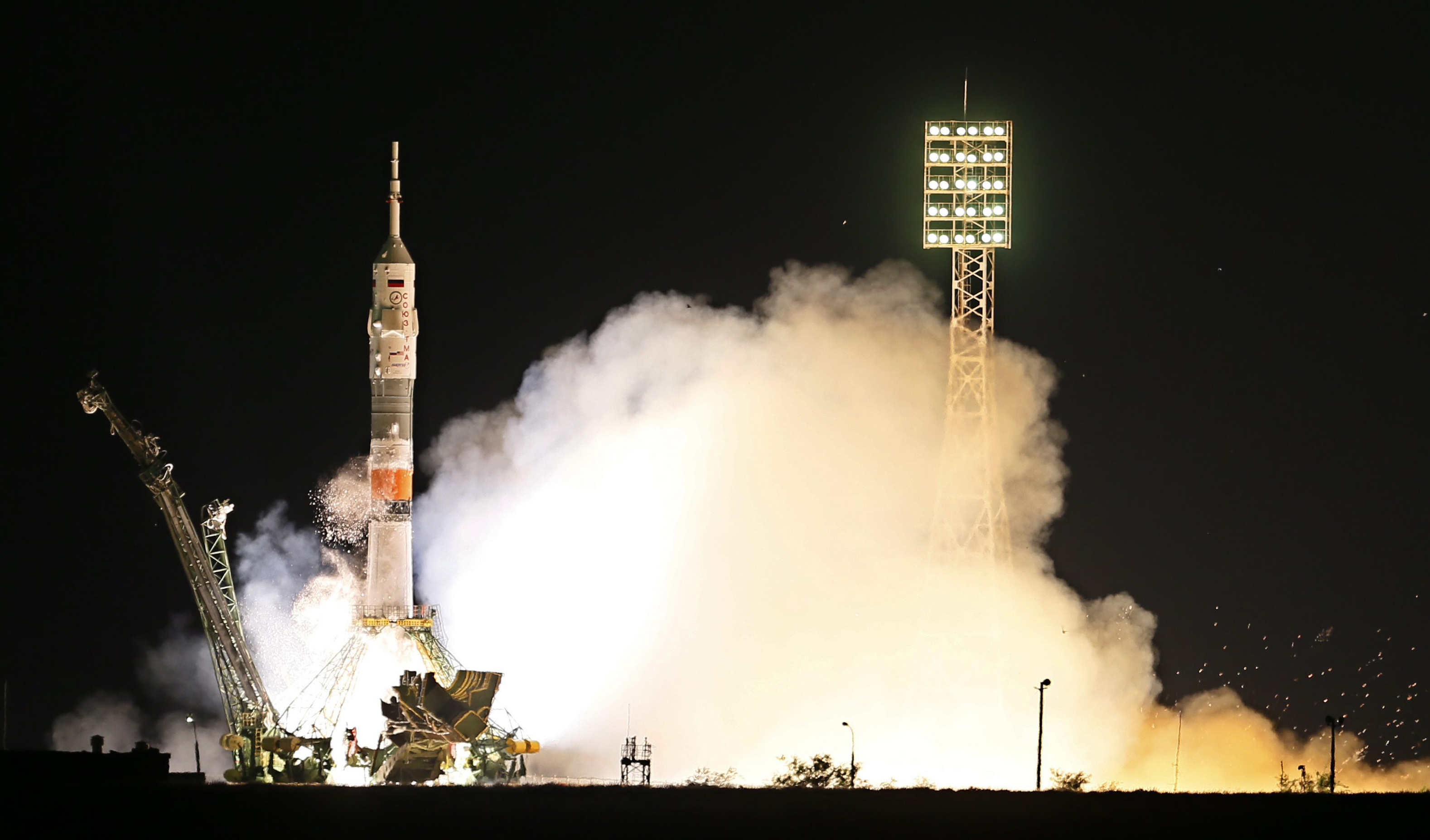 The Soyuz blast off from Baikonur cosmodrome