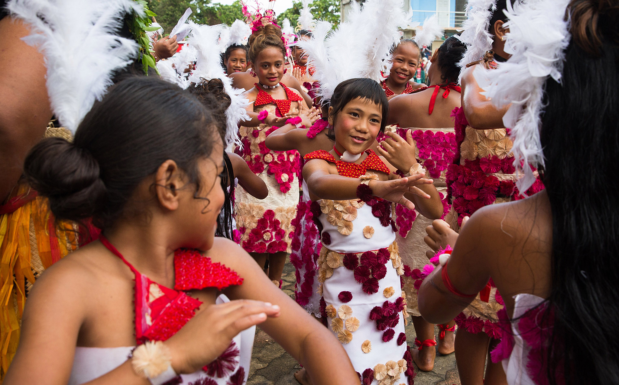 Tonga Prepares For Coronation Of King Tupou VI...NUKUALOFA, TONGA - JULY 2: School children wearing traditional costumes celebrate the upcoming Kings Coronation on July 2, 2015 in Nukualofa, Tonga. Tonga is preparing for the coronation of King Tupou VI with a week of festivities ahead of the official service at the Free Wesleyan Church in Nuku'alofa on Saturday. King Tupou VI succeeds his brother, King Tupou V, who passed away in 2012.(Photo by Edwina Pickles/Fairfax Media/Getty Images)