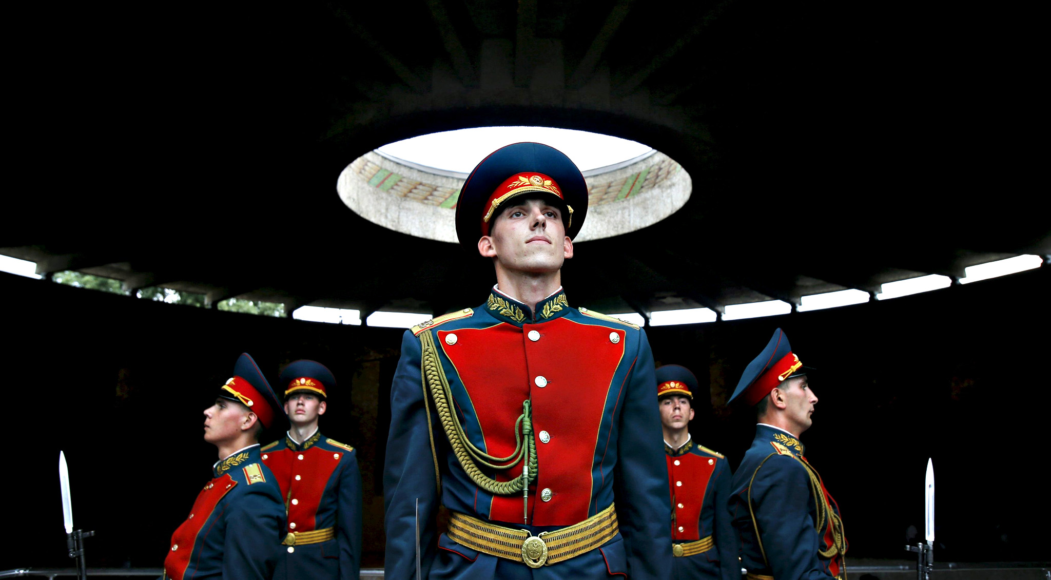 Members of the Russian honor guard perform ceremonial change-over at Military Glory hall of Mamayev Kurgan World War Two memorial complex in Volgograd...Members of the Russian honor guard perform a ceremonial change-over at the Military Glory hall of the Mamayev Kurgan (Mamayev Hill) World War Two memorial complex in the city of Volgograd, Russia, July 15, 2015. Russia will host the World Cup soccer tournament for FIFA in 2018