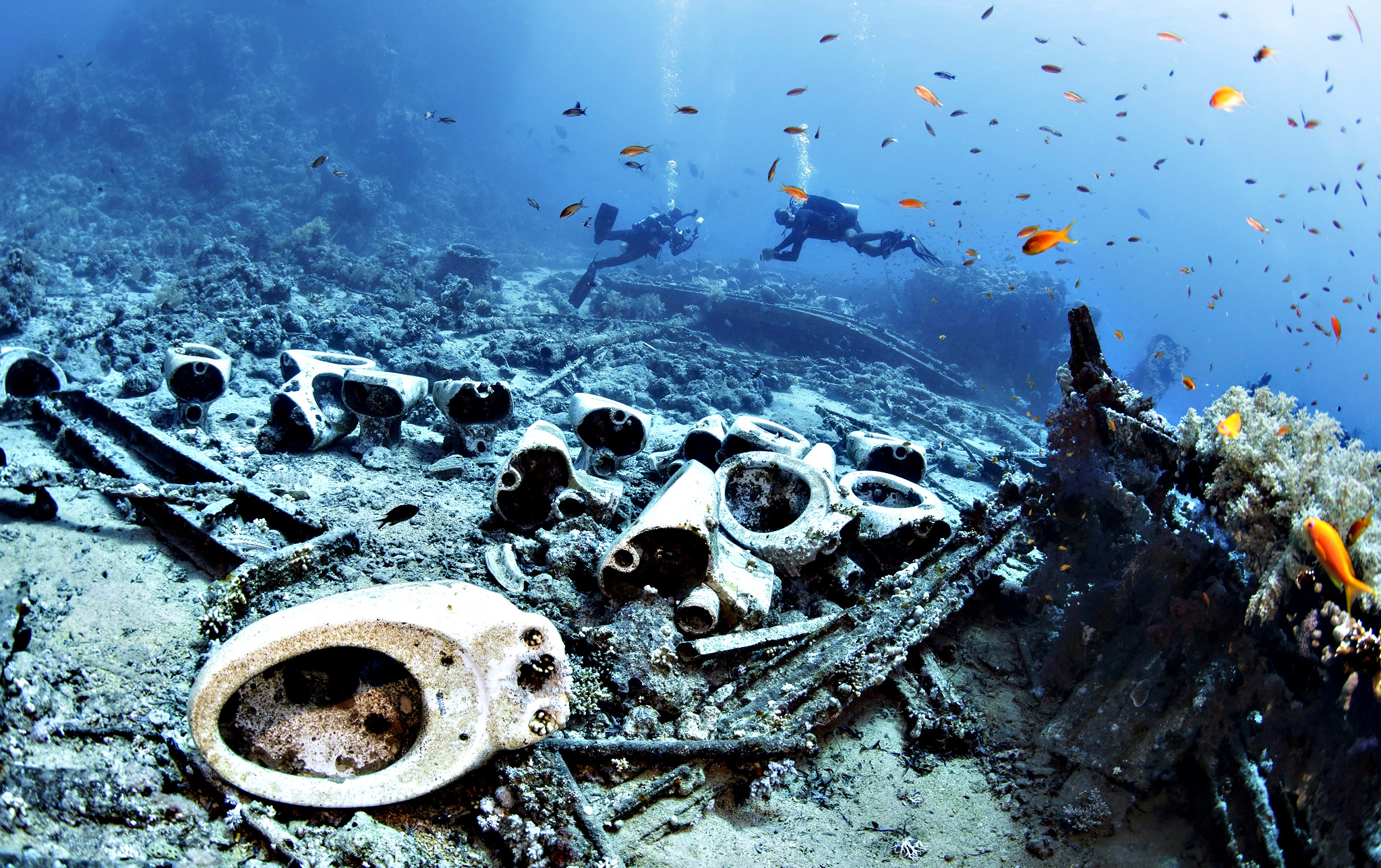 Divers swim above toilets from a wreck near the Yolanda Reef at Ras Mohammad, close to Sharm El Sheikh, Egypt, 23 July 2015. The famous dive site of the Ras Mohammed National Park contains the remains of the 'Yolanda' wreck, which sank in the 1970s, leaving toilets and bath tubs on the sea bed.