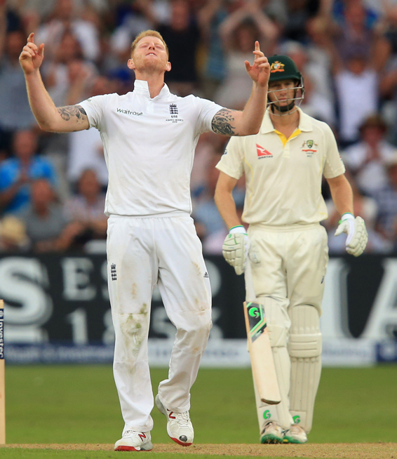 Cricket - Fourth Investec Ashes Test - England v Australia - Day Two - Trent Bridge...England's Ben Stokes celebrates the wicket of Australia's Mitchell Johnson during day two of the Fourth Investec Ashes Test at Trent Bridge, Nottingham. PRESS ASSOCIATION Photo. Picture date: Friday August 7, 2015. See PA story CRICKET England. Photo credit should read: Mike Egerton/PA Wire. Editorial use only. No commercial use without prior written consent of the ECB. Still image use only no moving images to emulate broadcast. No removing or obscuring of sponsor logos. Call +44 (0)1158 447447 for further information