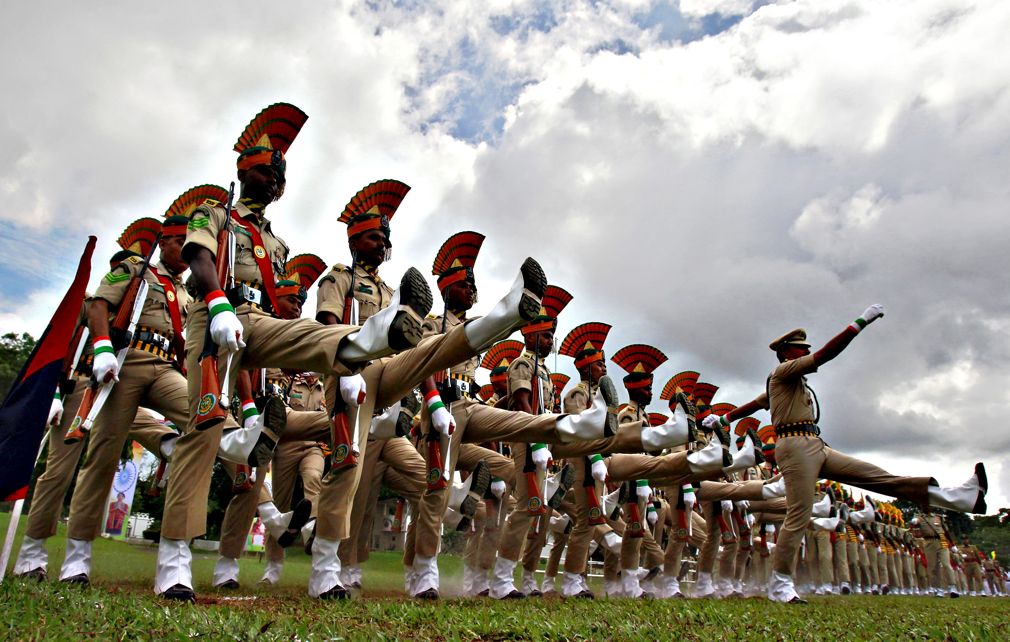 Members of India's Tripura State Rifles (TSR) take part in the full-dress rehearsal for India's Independence Day celebrations in Agartala, India, August 13, 2015. India commemorates its Independence Day on August 15.