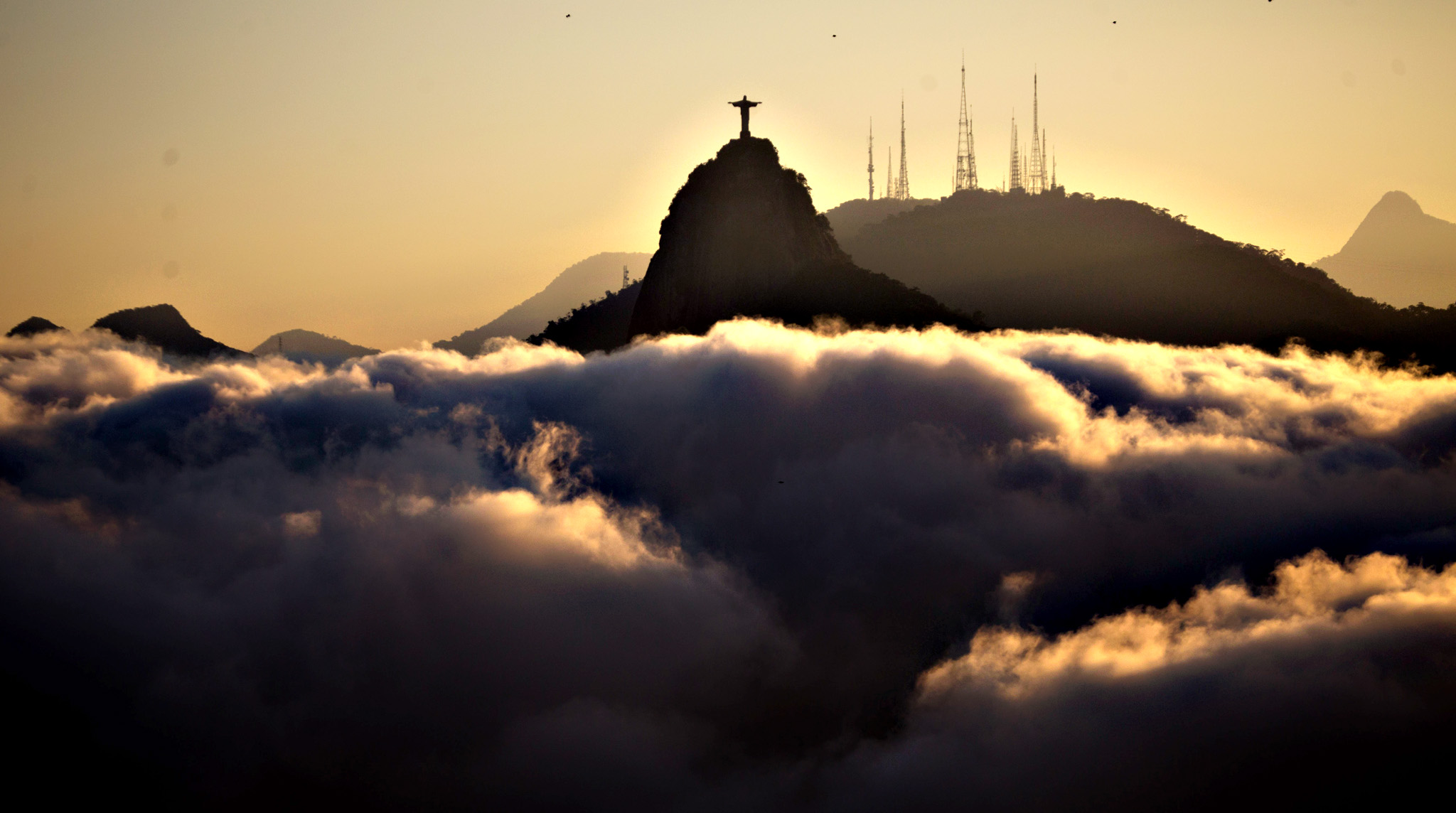 A general view of the Christ the Redeemer on Tuesday. Wednesday, marks one year to go from the start of the 2016 Olympic games which will be held in Rio de Janeiro, Brazil