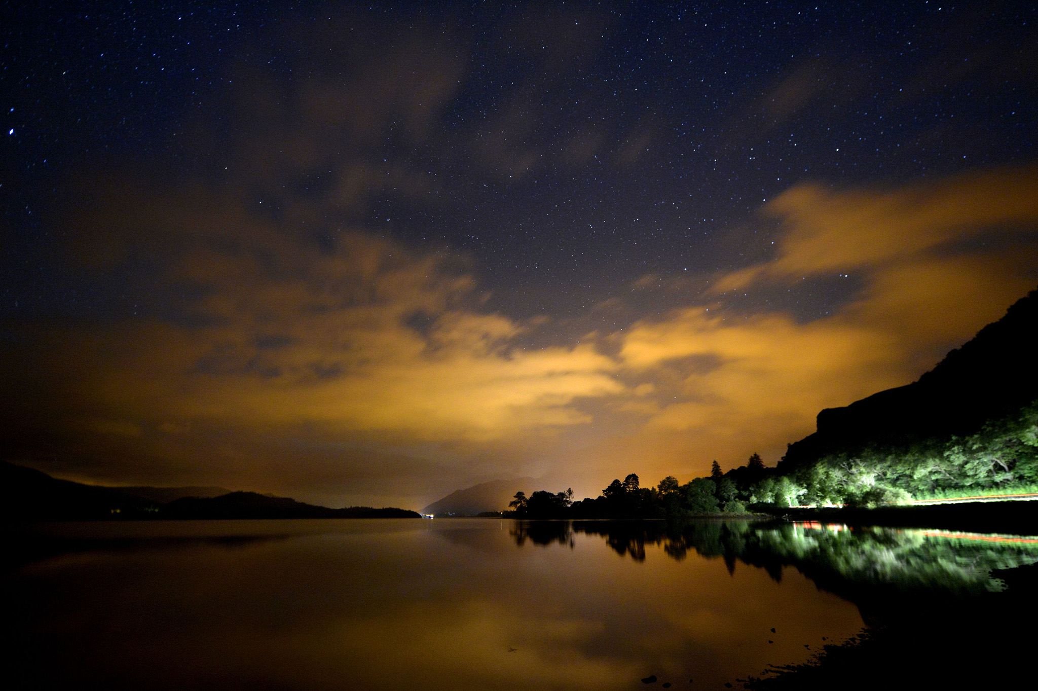 Derwentwater by night...Overnight reflections in Derwentwater in the Lake District near Keswick  PRESS ASSOCIATION Photo. Picture date: Thursday September 10, 2015. Photo credit should read: Owen Humphreys/PA Wire
