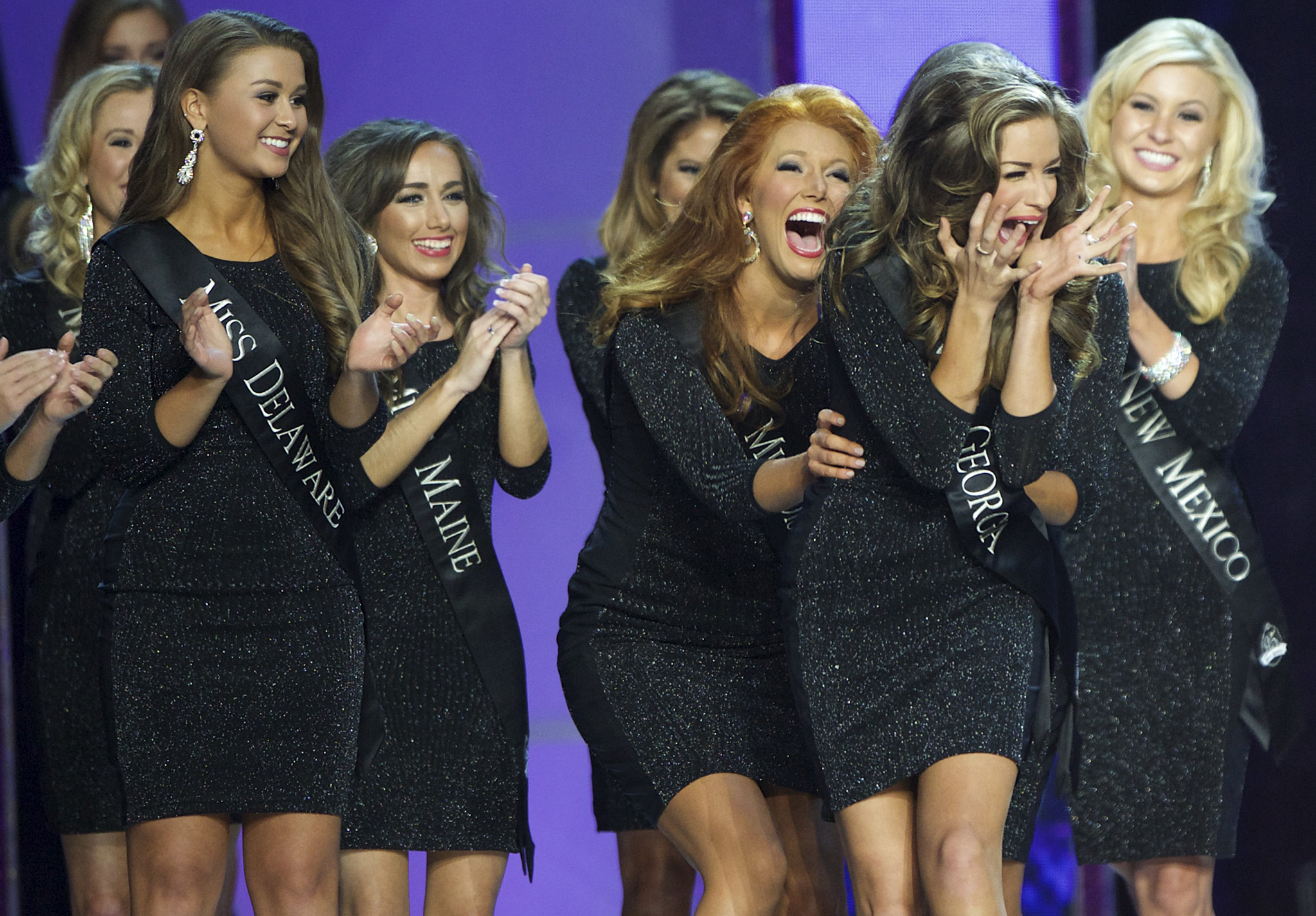 Miss Georgia, Betty Cantrell, reacts to advancing, en route to victory, at the Miss America Pageant at Boardwalk Hall, in Atlantic City, New Jersey