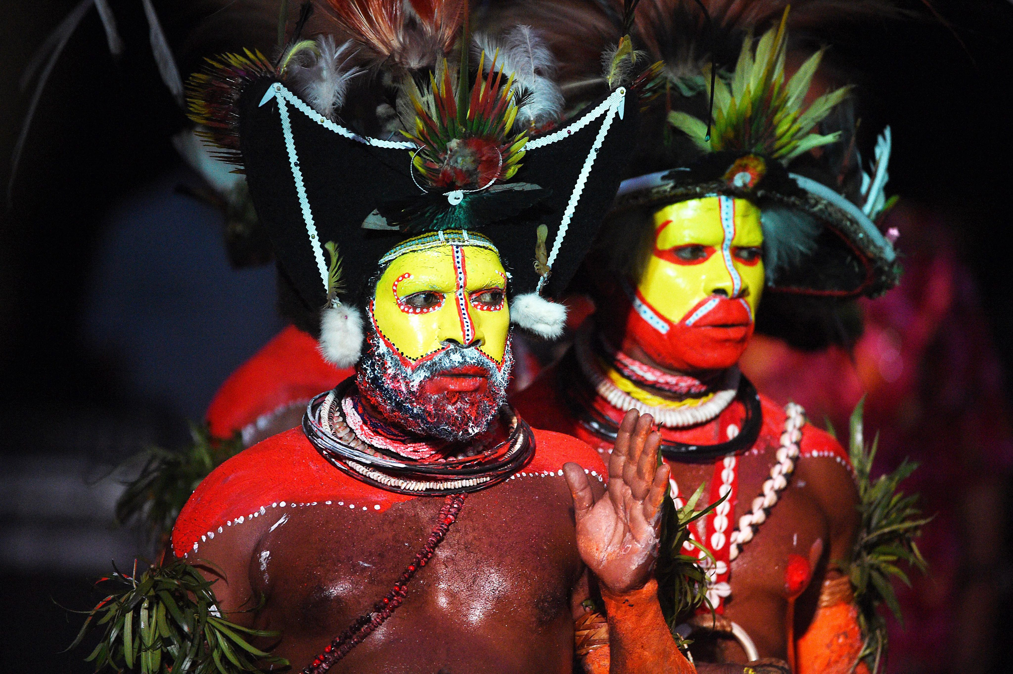 Pacific Island Forum in PNG...epa04921280 A picture made available on 09 September 2015 shows traditional dancers perform for the official opening of the Pacific Islands Forum in Port Moresby, Papua New Guinea, 08 September 2015. The Pacific Islands Forum goes from 07 to 11 September and discusses the regions vulnerability to Climate Change.  EPA/MICK TSIKAS AUSTRALIA AND NEW ZEALAND OUT