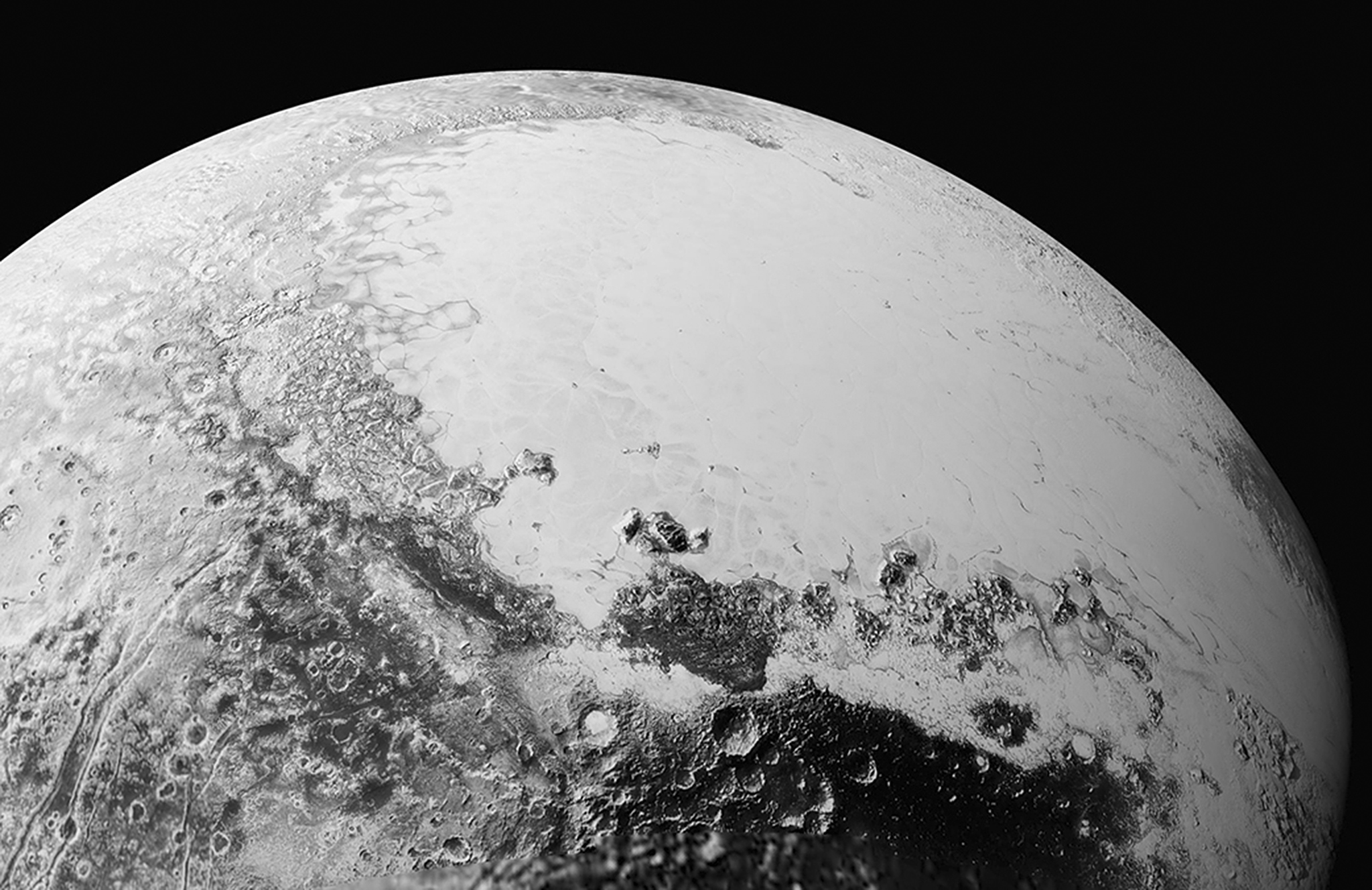 Startling images of Pluto from New Horizons...SOL SYSTEM Pluto -- 11 Sep 2015 -- This synthetic perspective view of Pluto, based on the latest high-resolution images to be downlinked from NASAís New Horizons spacecraft, shows what you would see if you were approximately 1,100 miles (1,800 kilometers) above Plutoís equatorial area, looking northeast over the dark, cratered, informally named Cthulhu Regio toward the bright, smooth, expanse of icy plains informally called Sputnik Planum. The entire expanse of terrain seen in this image is 1,100 miles (1,800 kilometers) across. The images were taken as New Horizons flew past Pluto on July 14, 2015, from a distance of 50,000 miles (80,000 kilometers) -- Picture by Atlas Photo Archive/JHUAPL/SwRI/NASA