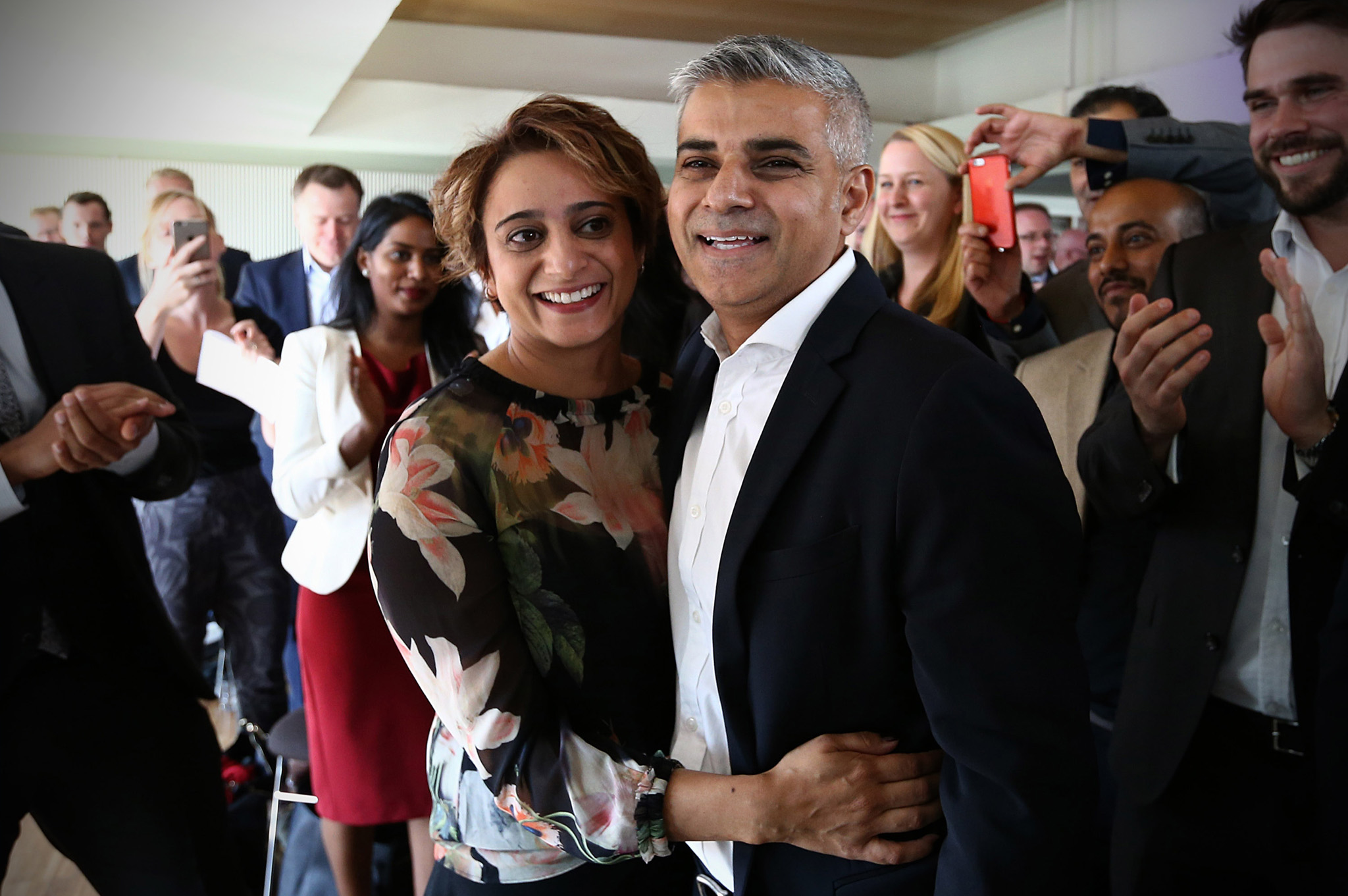 ***BESTPIX*** Labour Announce Their Candidate To Run For London Mayor In 2016...LONDON, ENGLAND - SEPTEMBER 11:  Labour Member of Parliament for Tooting and London mayoral candidate, Sadiq Khan (R), is congratulated by his wife Saadiya after winning the contest to become Labour's candidate to become London mayor at the Royal Festival Hall on September 11, 2015 in London, England. Mr Khan beat five other candidates to the position to stand in next years mayoral election.  (Photo by Carl Court/Getty Images)  ***BESTPIX***
