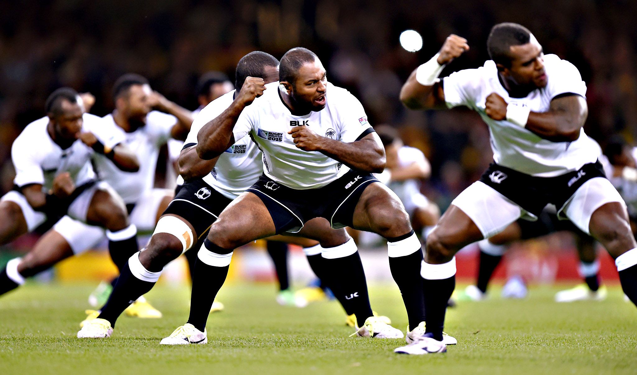 Fiji perform the Cibi before the Rugby World Cup match at the Millennium Stadium, Cardiff