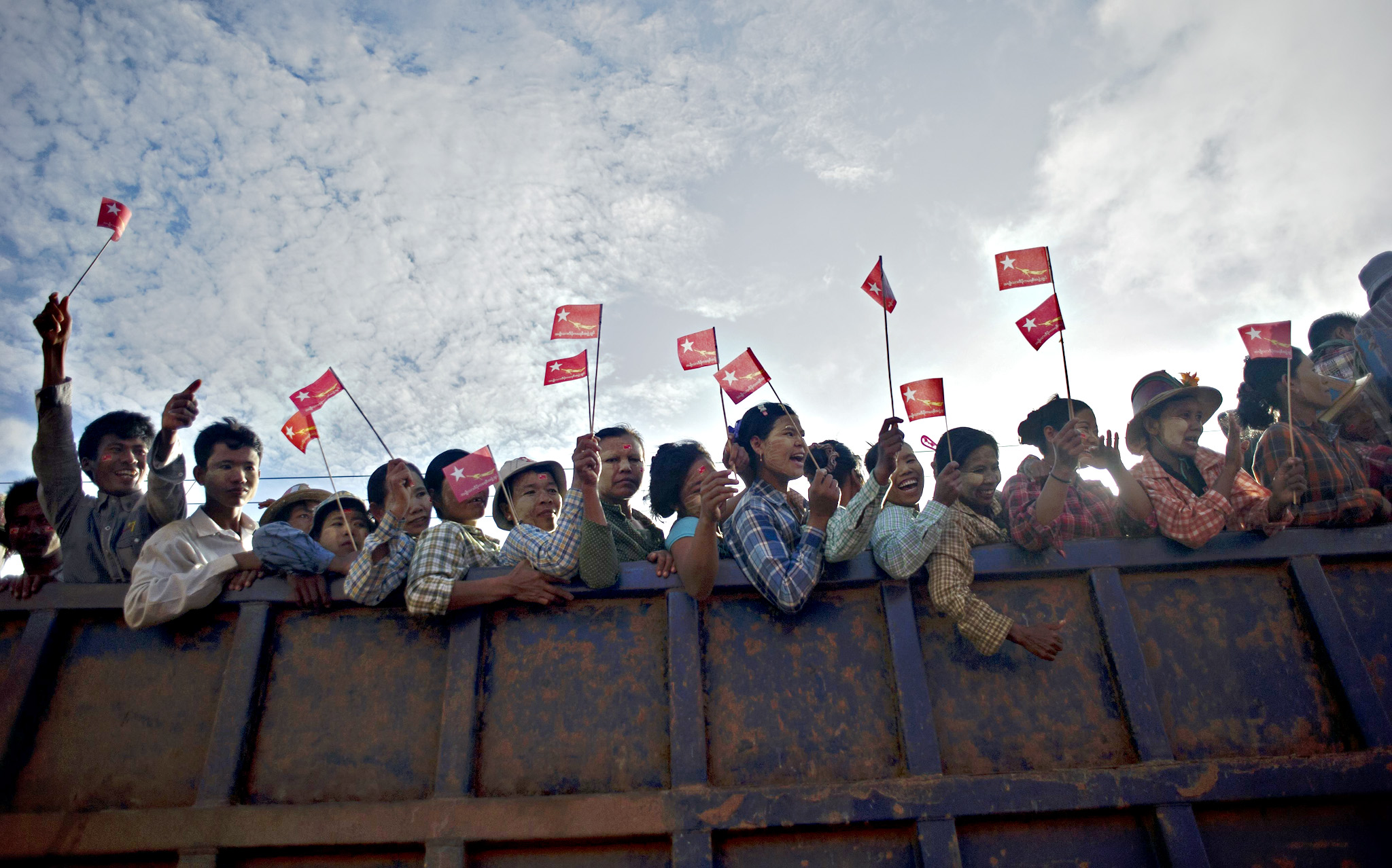 National League for Democracy chairperson Aung San Suu Kyi during her election campaign rally in Kawhmu township on September 22, 2015. While her National League for Democracy (NLD) party is expected to triumph at key elections this year, Suu Kyi's pathway to the presidency is blocked by a controversial clause in Myanmar's junta-era constitution