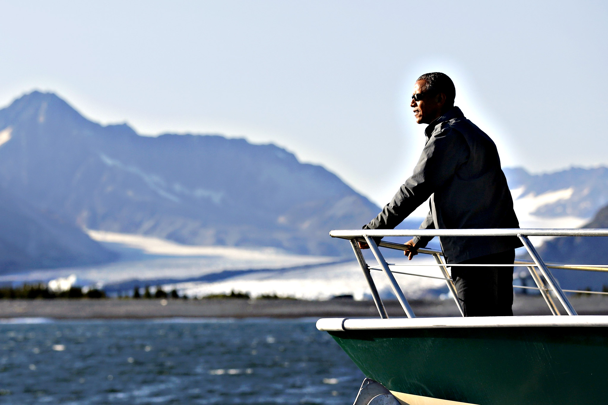 U.S. President Barack Obama views Bear Glacier on a boat tour of Kenai Fjords National Park in Seward, Alaska