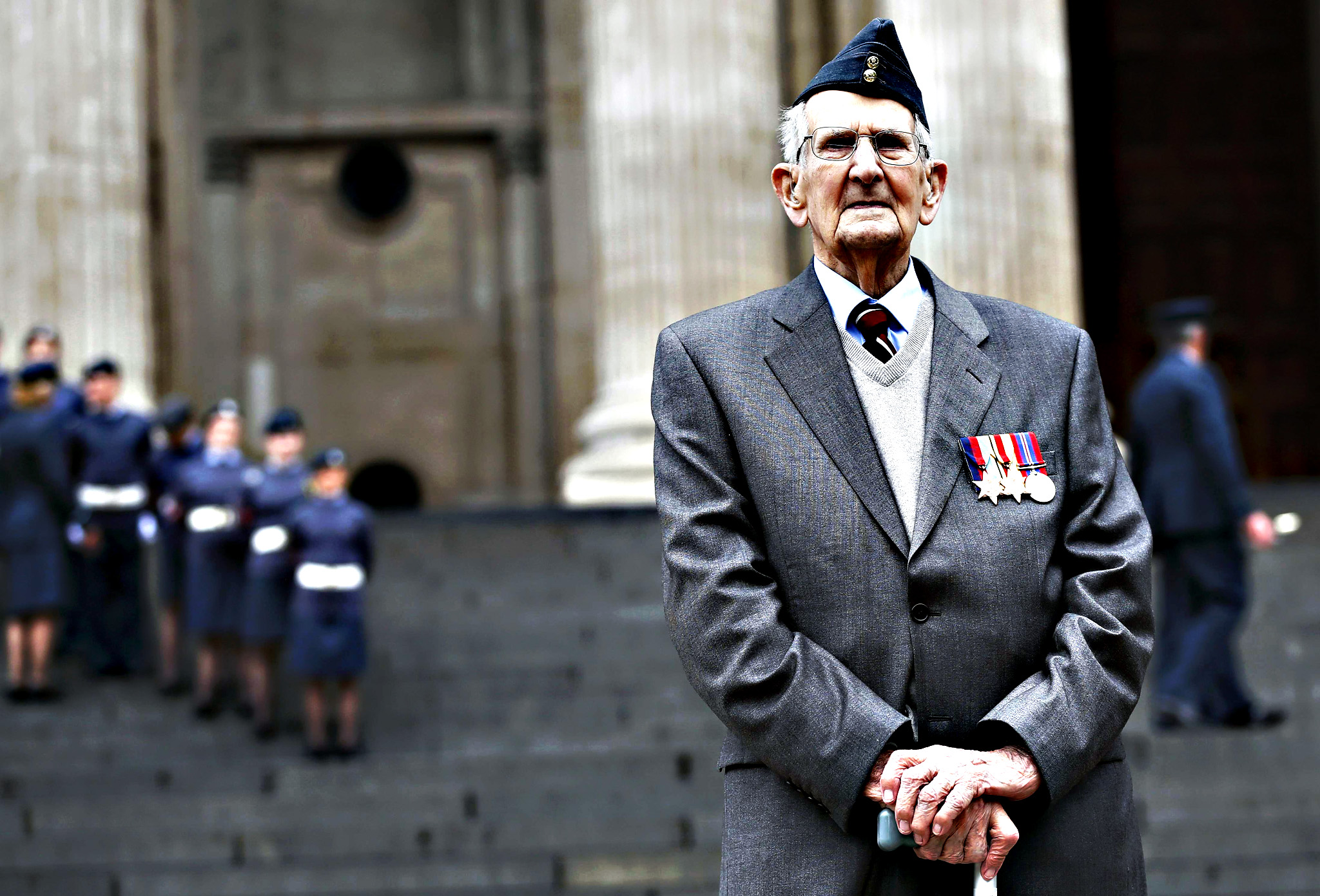 Veteran Clark, 95 poses for a photograph after receiving his campaign medals before a national service of commemoration to mark the 75th anniversary of the Battle of Britain at St Paul's Cathedral in central London...Veteran Will Clark, 95 poses for a photograph after receiving his campaign medals before a national service of commemoration to mark the 75th anniversary of the Battle of Britain at St Paul's Cathedral in central London, Britain September 15, 2015.
