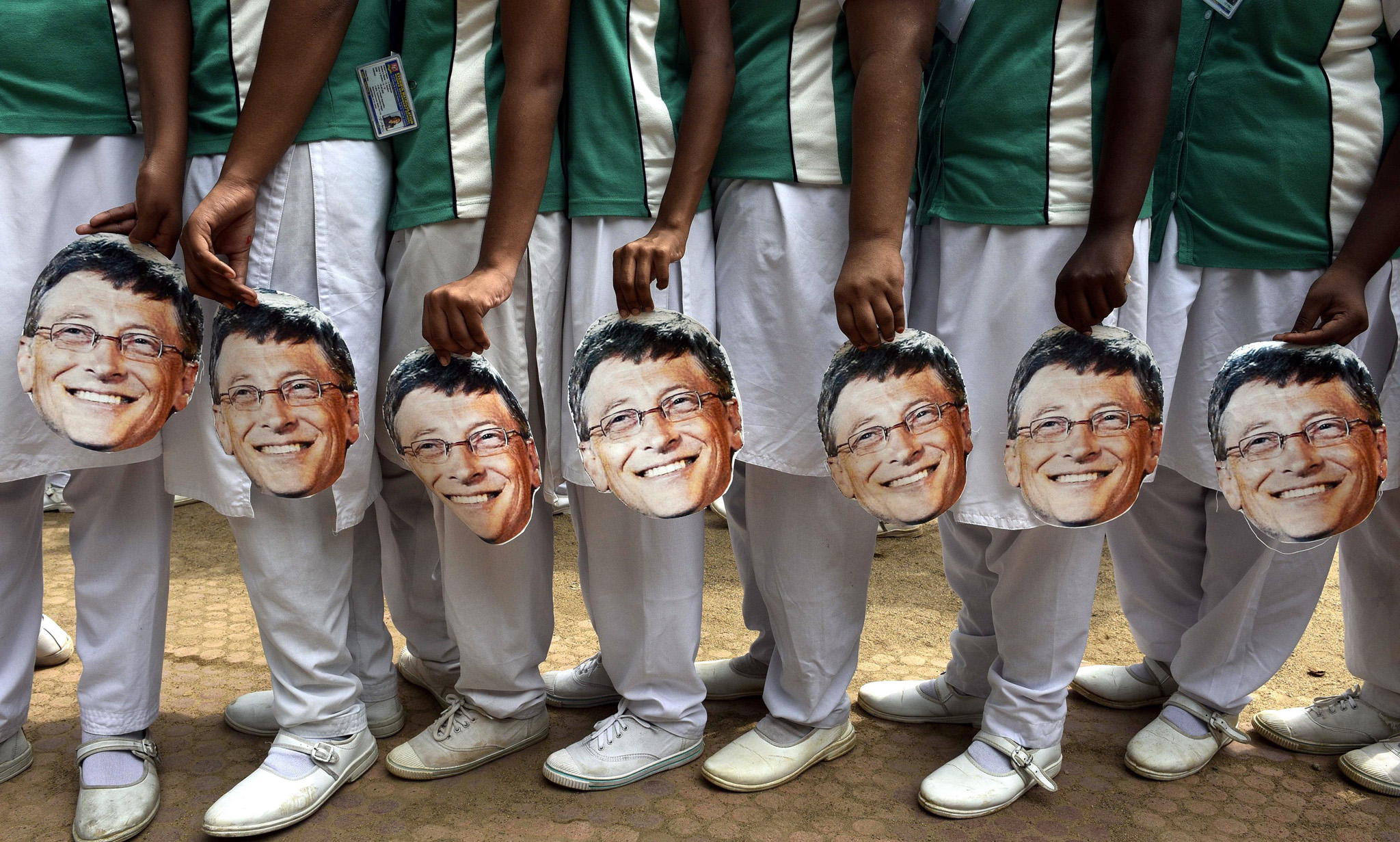 Indian schoolchildren holds masks with t...Indian schoolchildren holds masks with the face of Microsoft founder and philanthropist Bill Gates to mark his 60th birthday, at a school in Chennai on October 28, 2015. AFP PHOTOSTR/AFP/Getty Images
