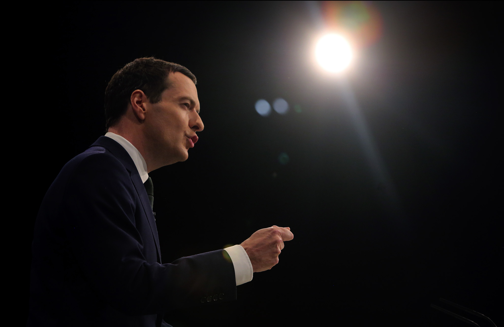 Chancellor of the Exchequer, George Osborne, delivers his keynote speech at the Conservative Party conference in Manchester.