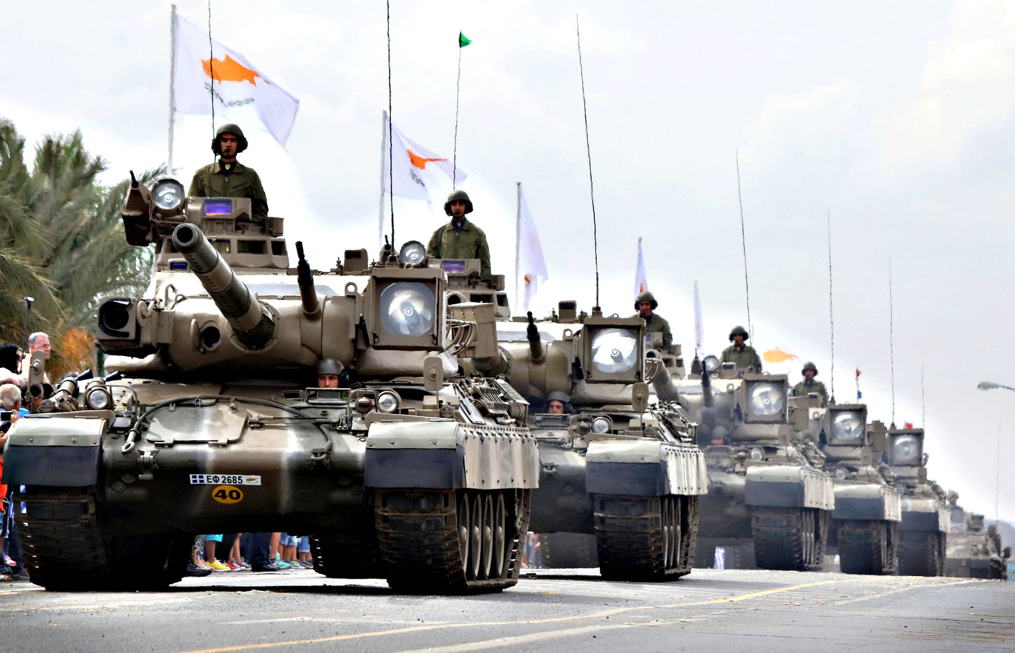 A column of tanks takes part in a military parade as part of the celebrations marking the 55th anniversary of the Republic of Cyprus in the presence of the President of the Republic Nicos Anastasiades and other high ranking government officials, in Nicosia, Cyprus, 01 October 2015.