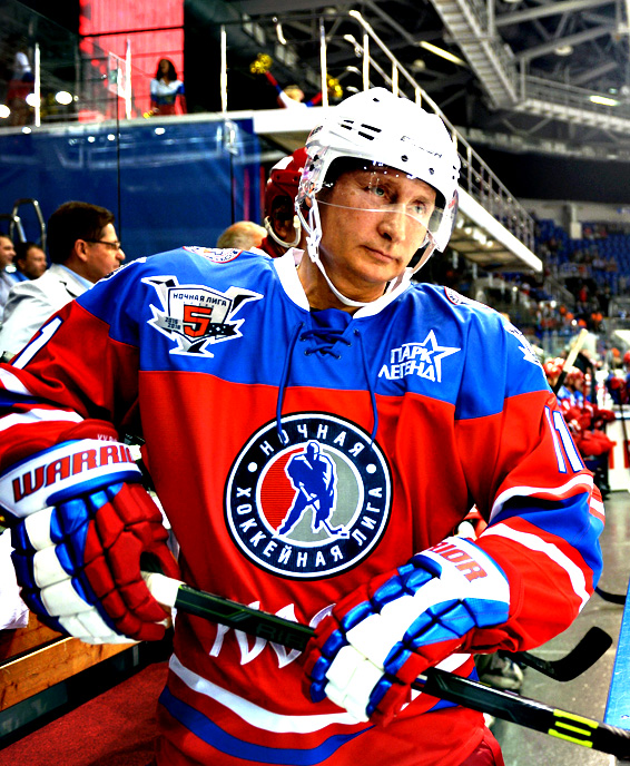 Russian President Vladimir Putin takes part in a gala opening match of the Night Hockey League new season in Sochi, Russia, 07 October 2015.