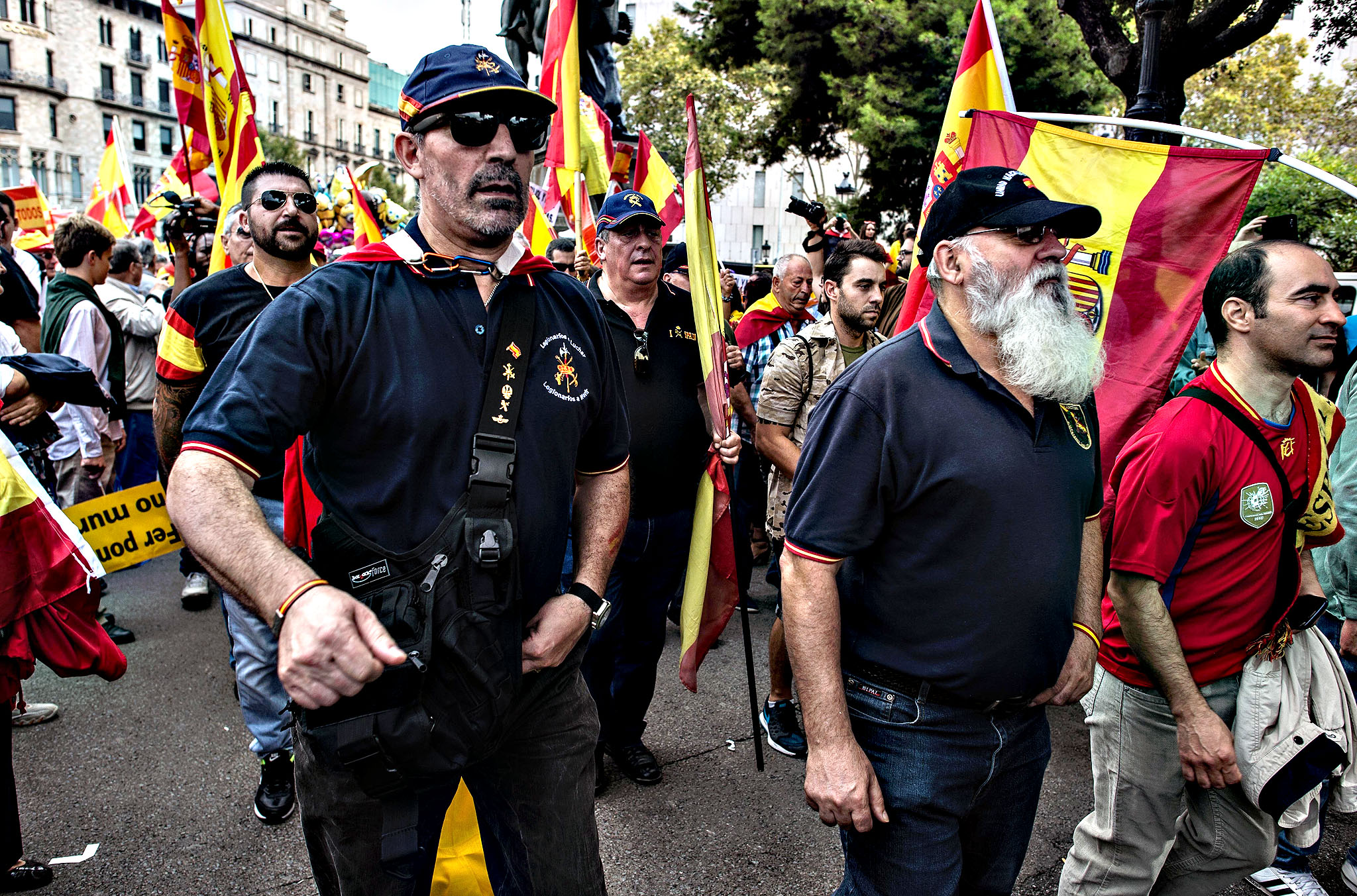 Anti-separatist Catalans gather in Plaza Catalunya square during a demonstration on October 12, 2015 in Barcelona, Spain. Thousands of Anti-separatist Catalans were called by Catalan unionist associations to march on the Spain's National Day to demonstrate against the Catalonia's bid for independence.