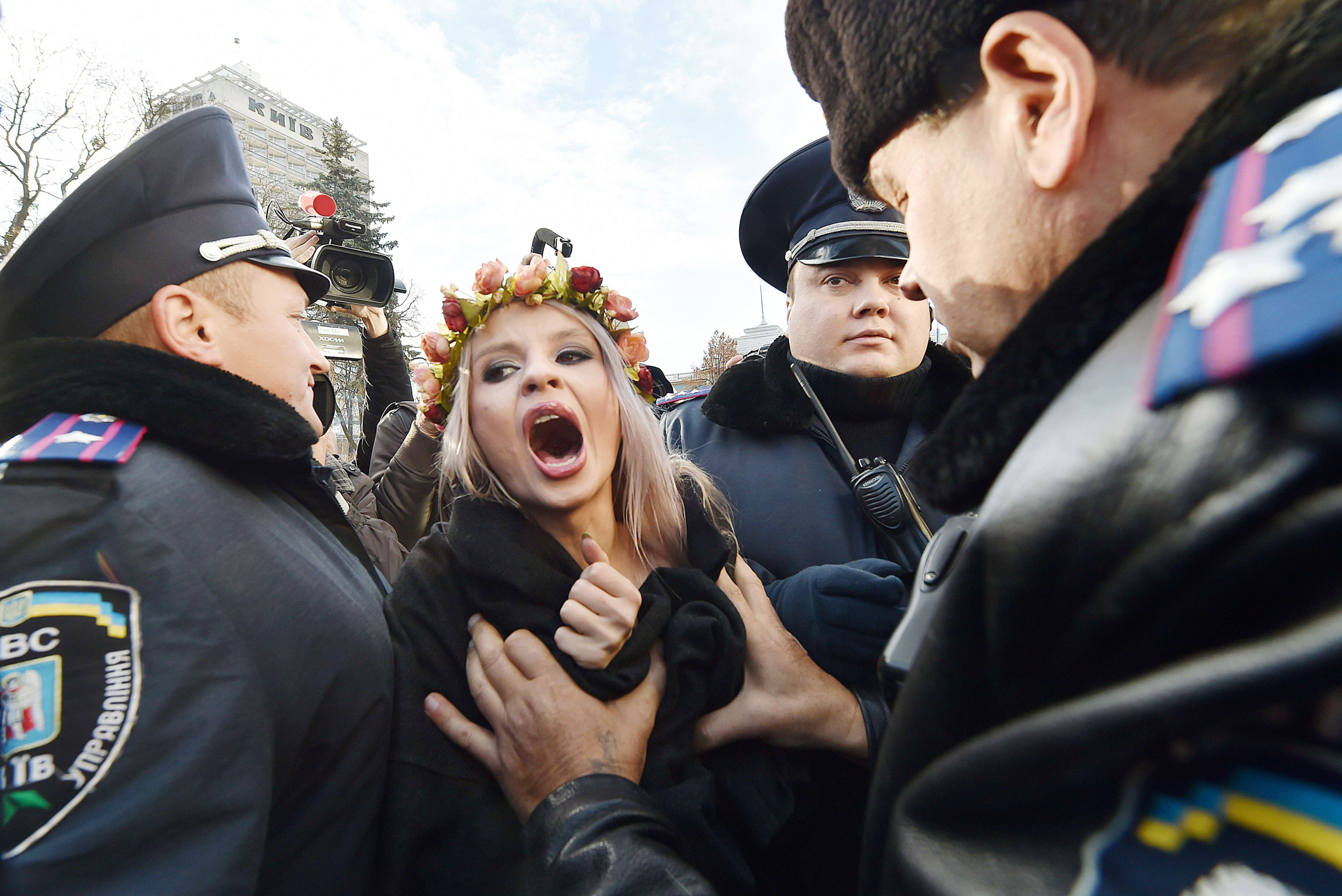 Ukrainian police detain an activist of t...Ukrainian police detain an activist of the feminist movement Femen as she shouts slogans during a demonstration calling for gay rights outside the Ukrainian parliament in Kiev on November 12, 2015. Ukraine's parliament are due to hold a vote to adopt a ban on anti-gay discrimination in the workplace -- a law needed to secure visa-free travel to most EU nations. AFP PHOTO / SERGEI SUPINSKYSERGEI SUPINSKY/AFP/Getty Images