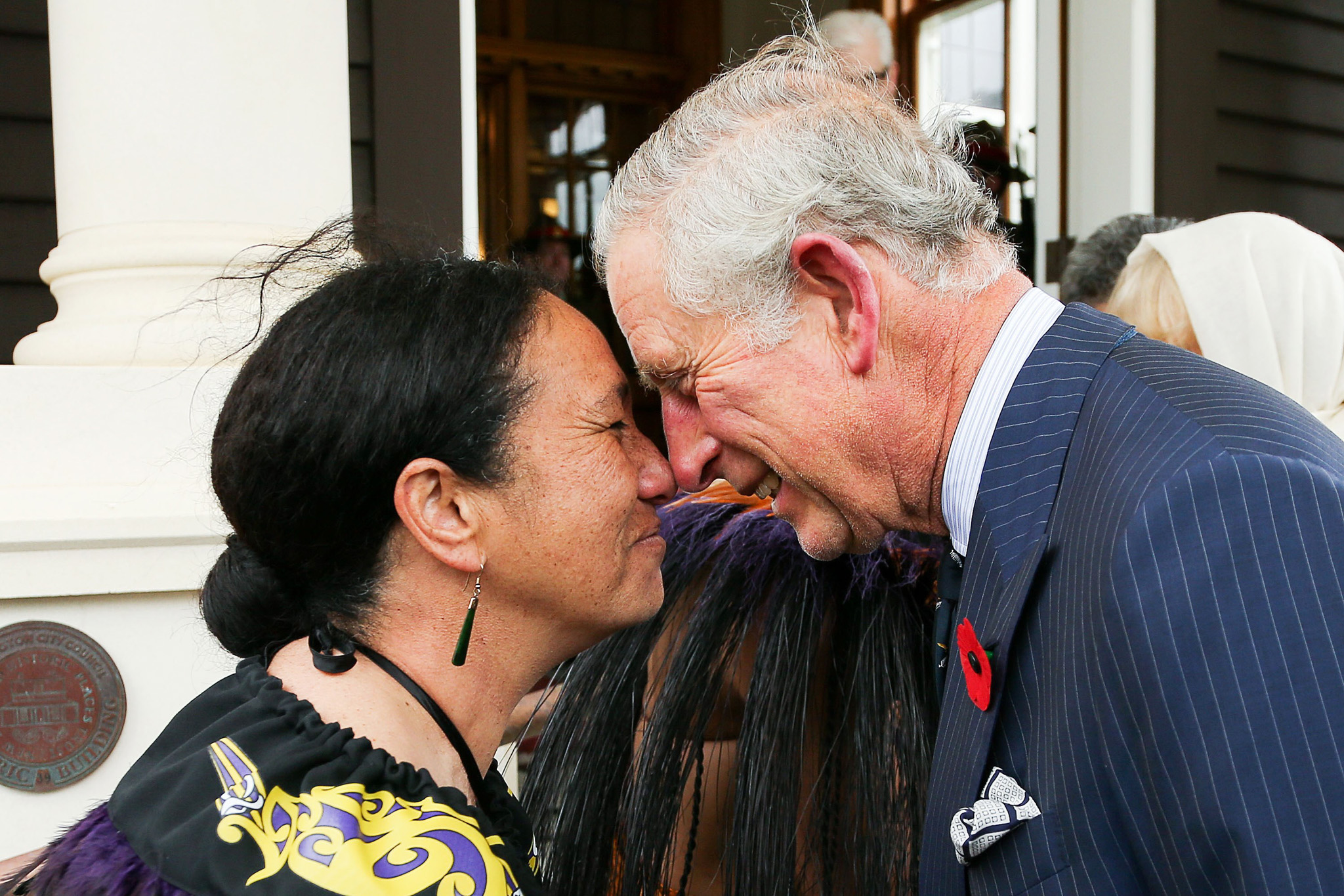 TOPSHOTS Britain's Prince Charles is wel...TOPSHOTS Britain's Prince Charles is welcomed with a hongi from New Zealand Defence Force Flight Sergeant Wai Paenga during a welcome ceremony at Government House in Wellington on November 4, 2015. Prince Charles with his wife Camilla are on a two-week tour of New Zealand and Australia. AFP PHOTO / Hagen Hopkins / POOLHagen Hopkins/AFP/Getty Images
