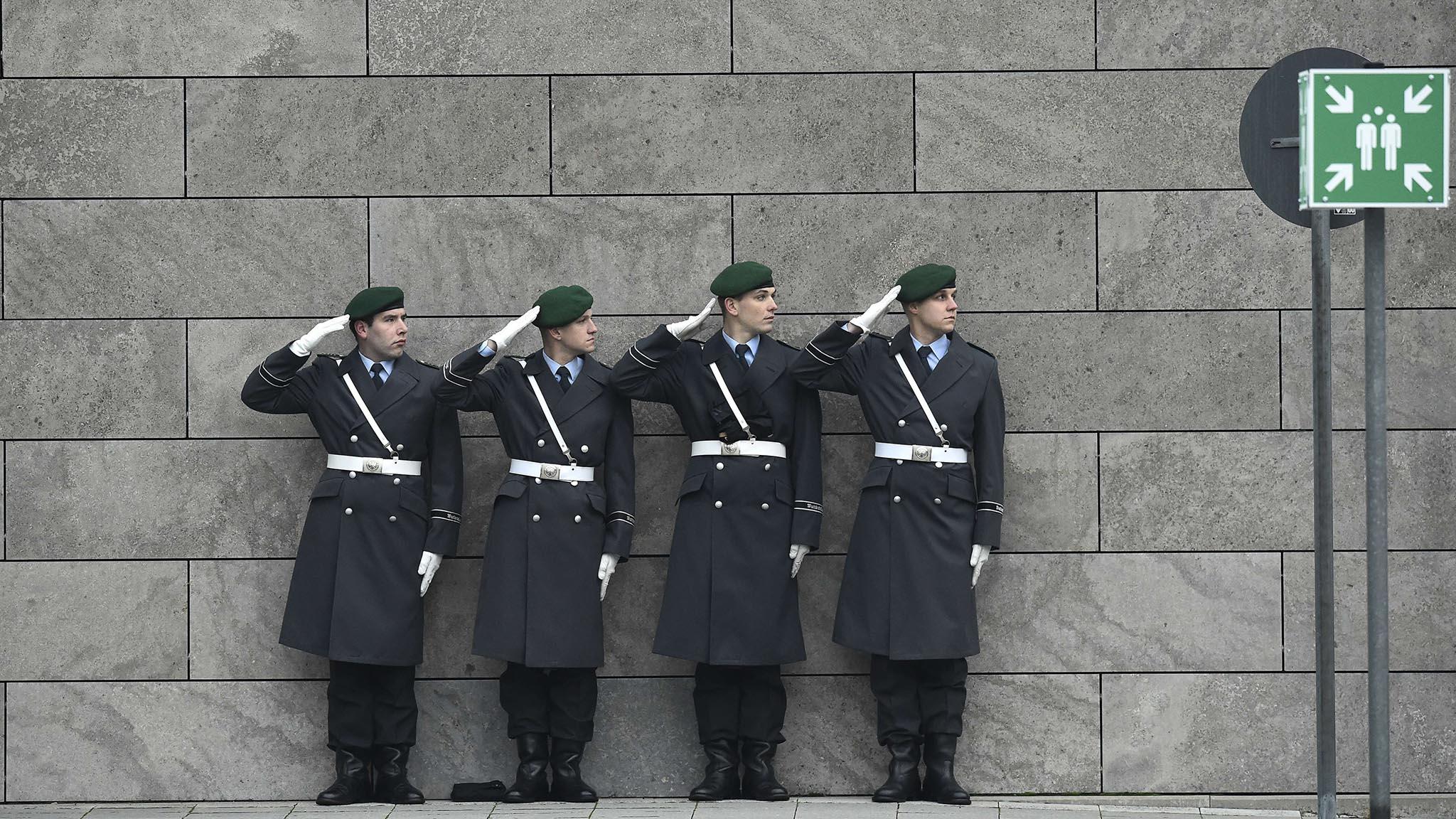 German Bundeswehr soldiers of an honor